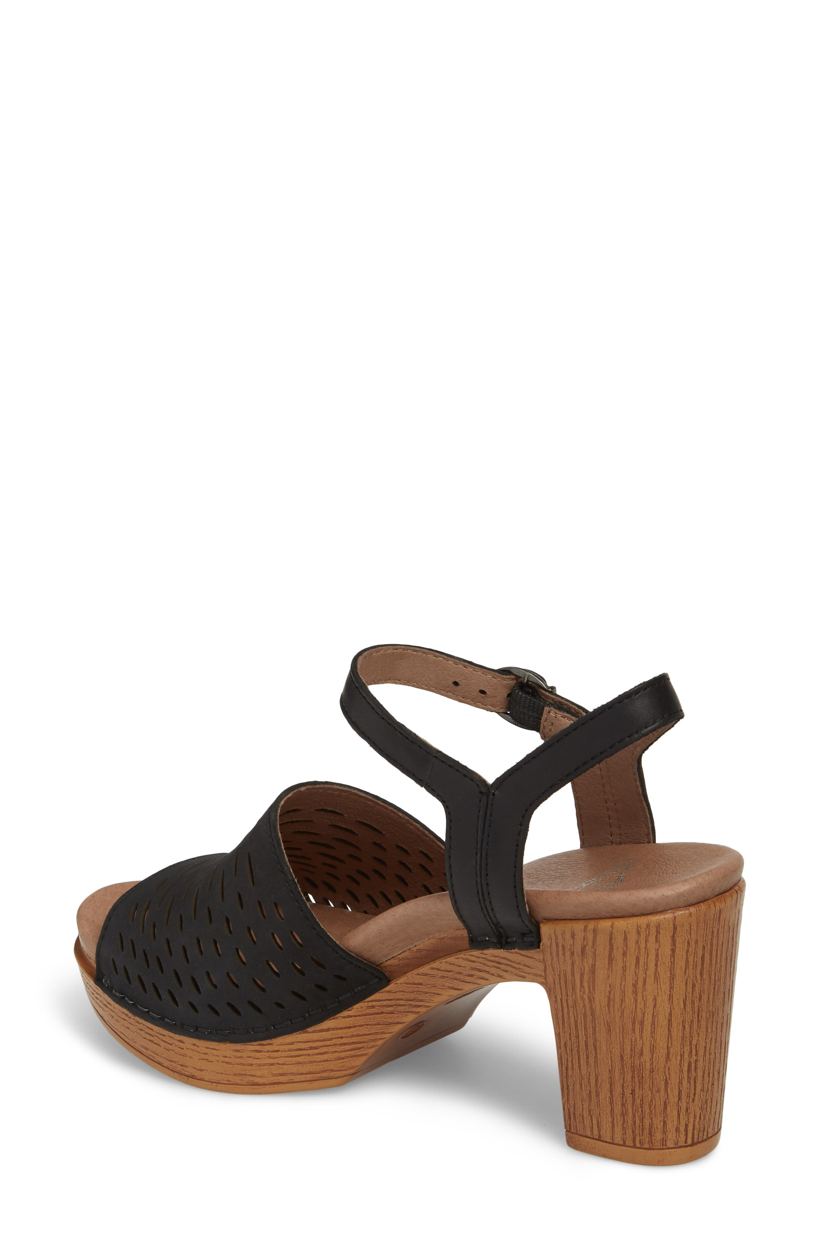 Denita Block Heel Sandal,                             Alternate thumbnail 2, color,                             Black Milled Nubuck Leather