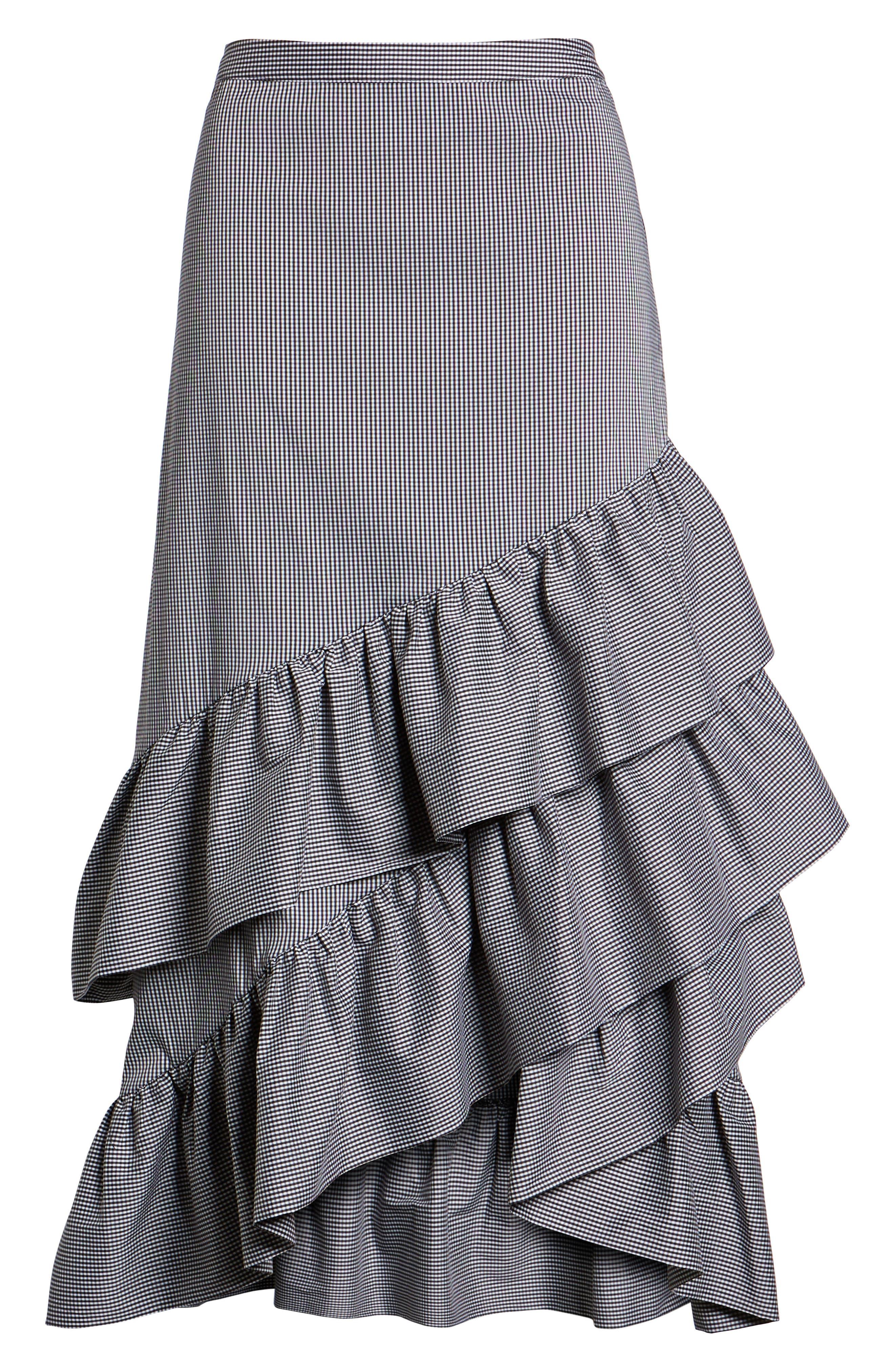 Gingham Ruffle Skirt,                             Alternate thumbnail 6, color,                             Black- White Mini Gingham