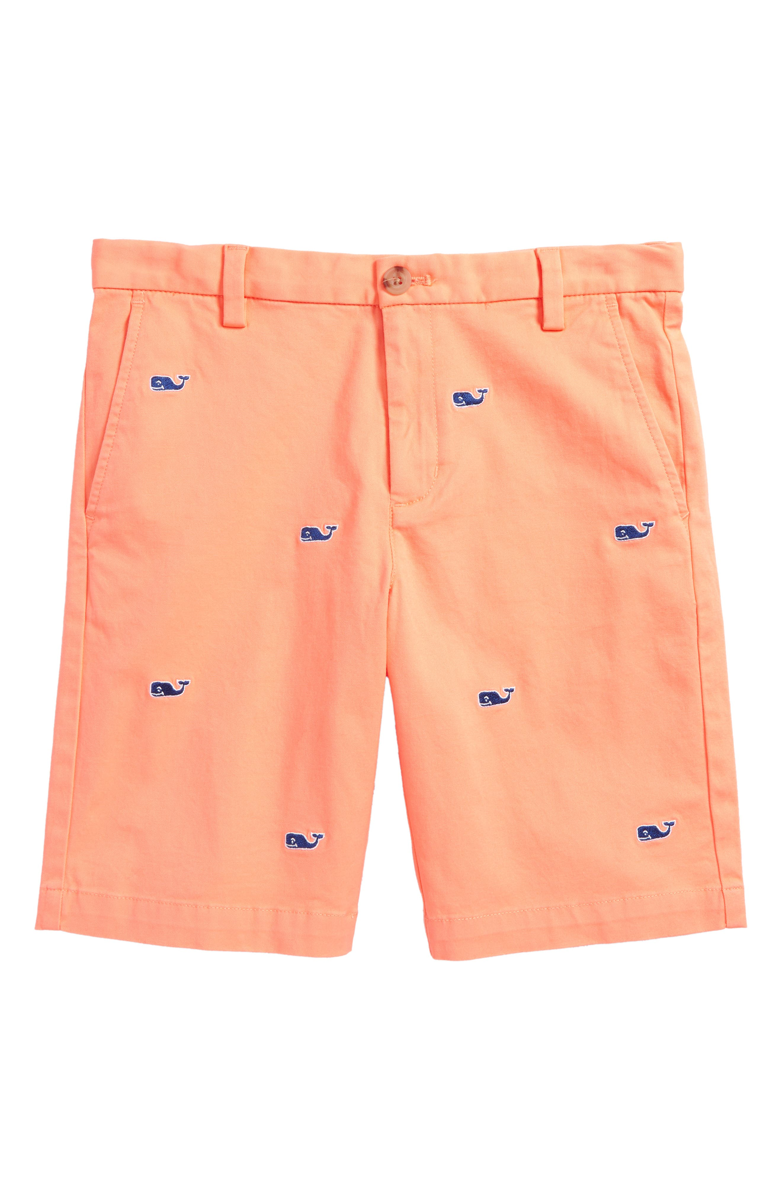 Stretch Breaker Whale Embroidered Shorts,                             Main thumbnail 1, color,                             Light Neon Melon