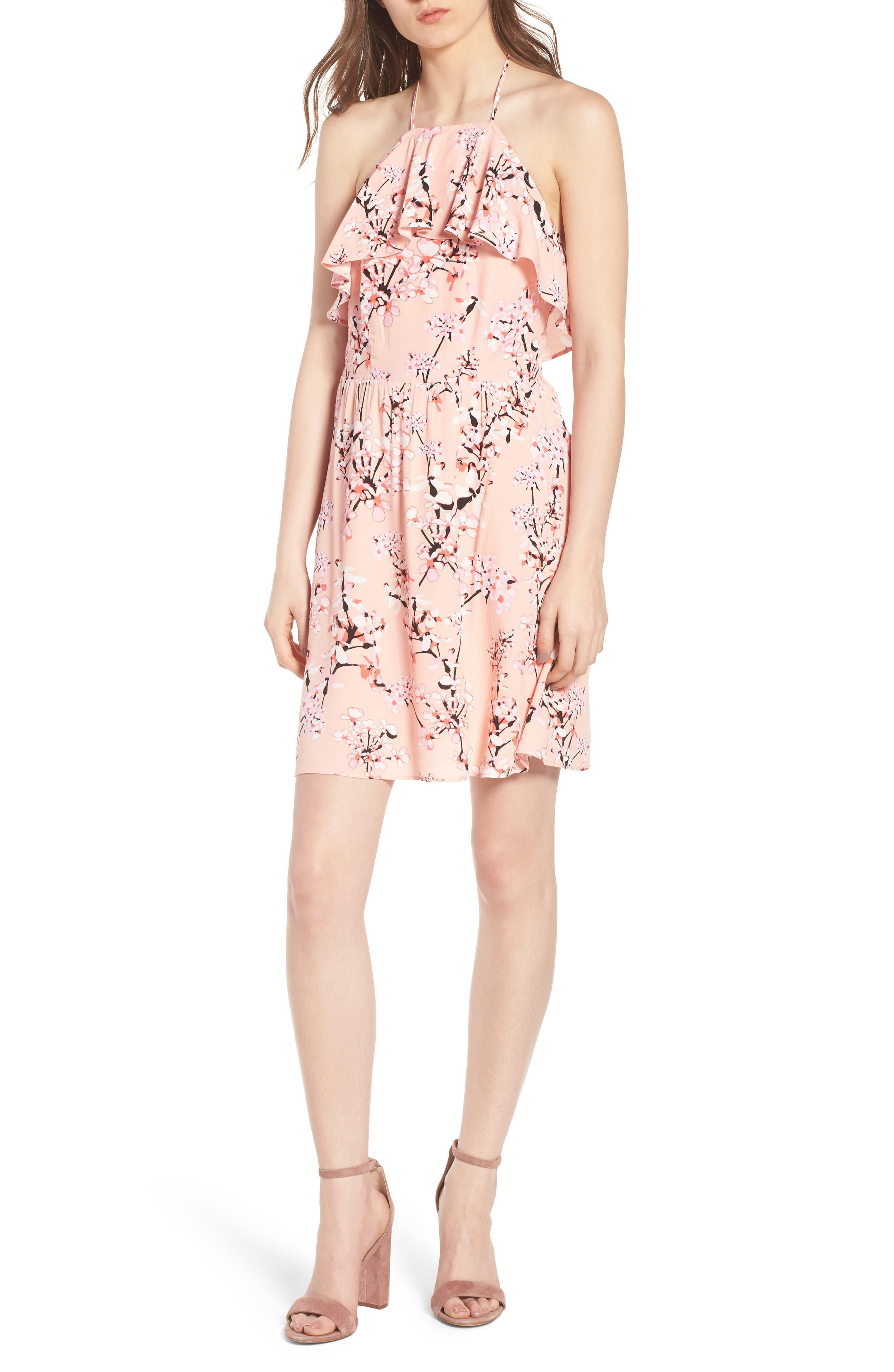 Corralyn Floral Print Halter Dress,                         Main,                         color, Peach Parfait