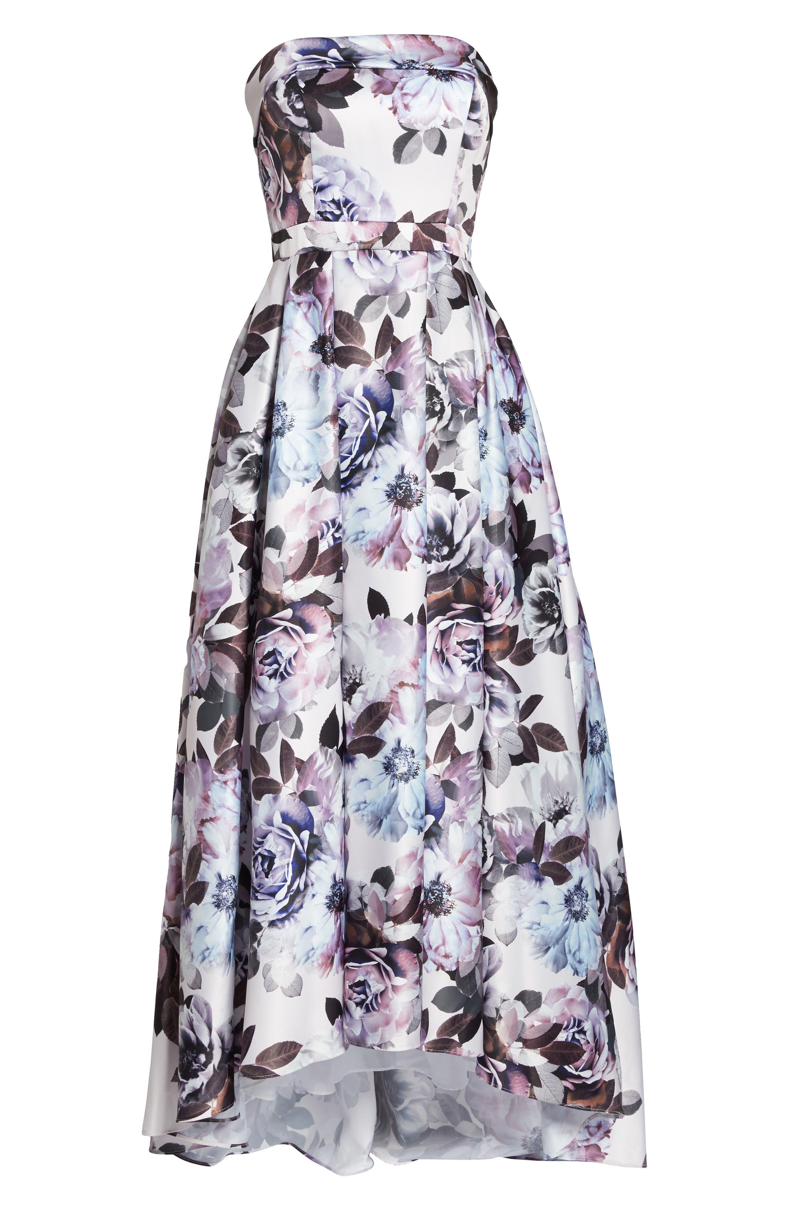 Floral Bustier High/Low Gown,                             Alternate thumbnail 6, color,                             Blue Multi