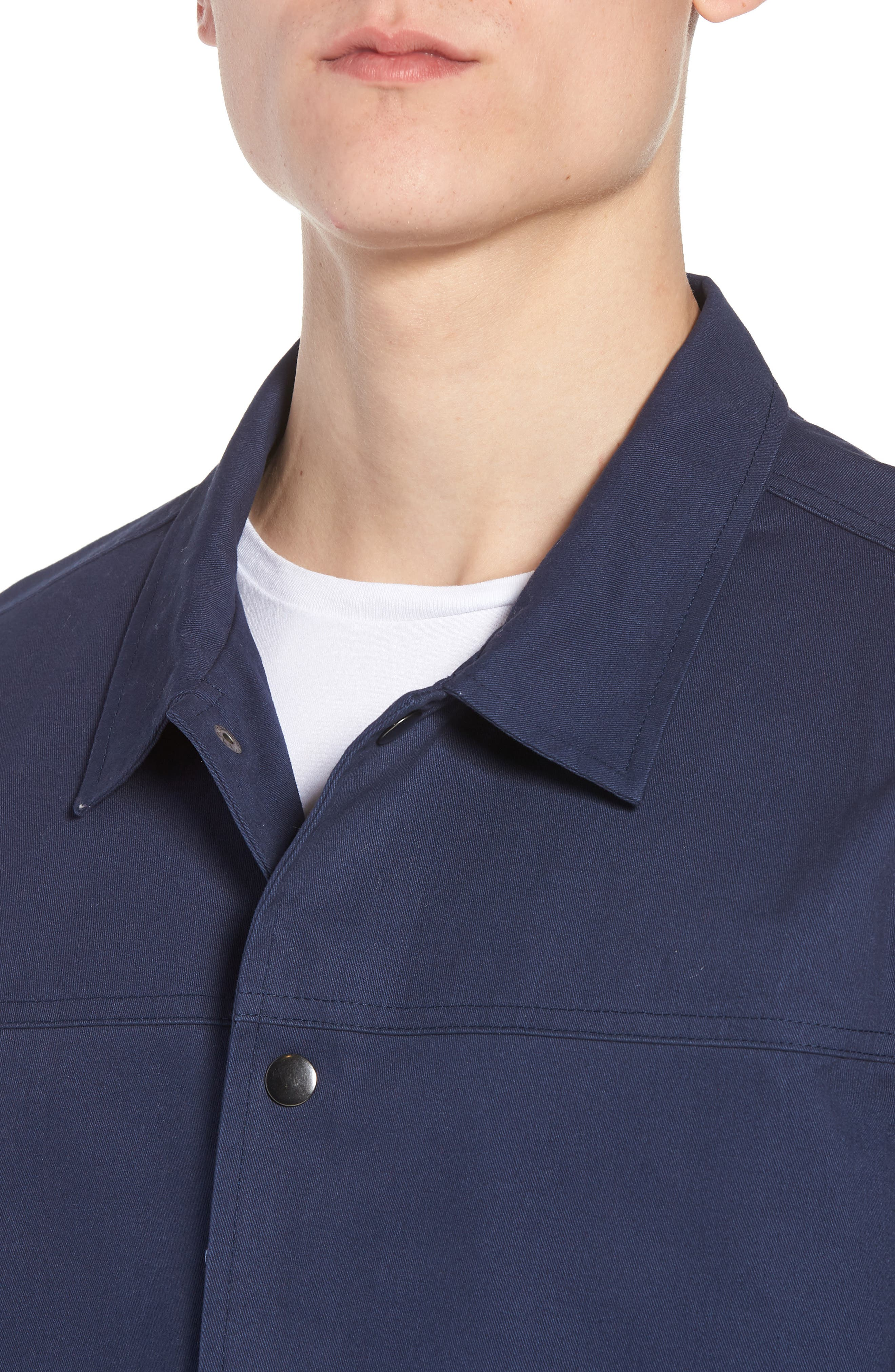 Snap Front Coach's Jacket,                             Alternate thumbnail 4, color,                             Navy Iris