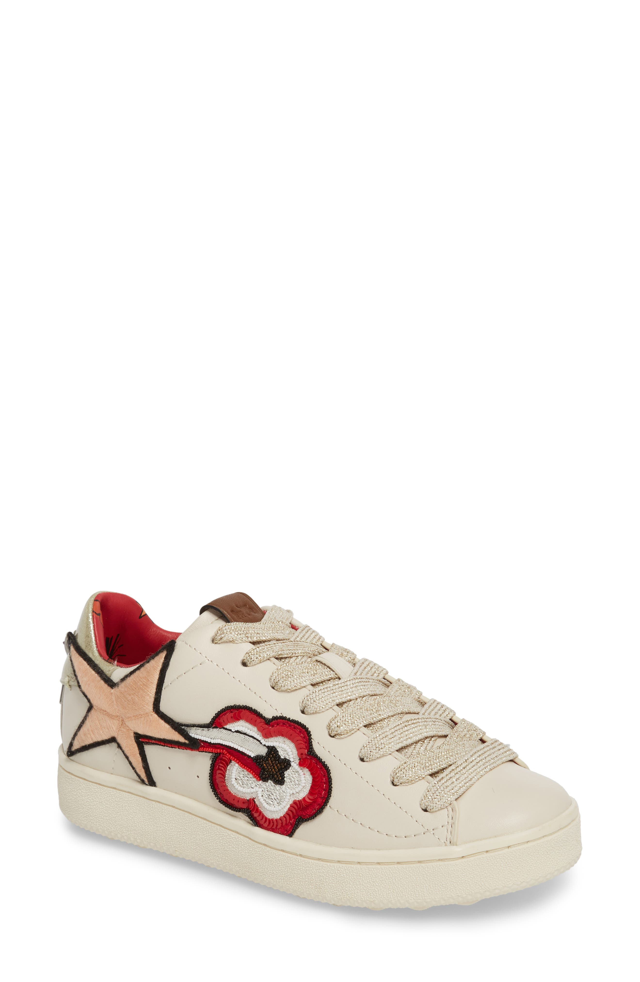 Shooting Star Sneaker,                         Main,                         color, Chalk Leather