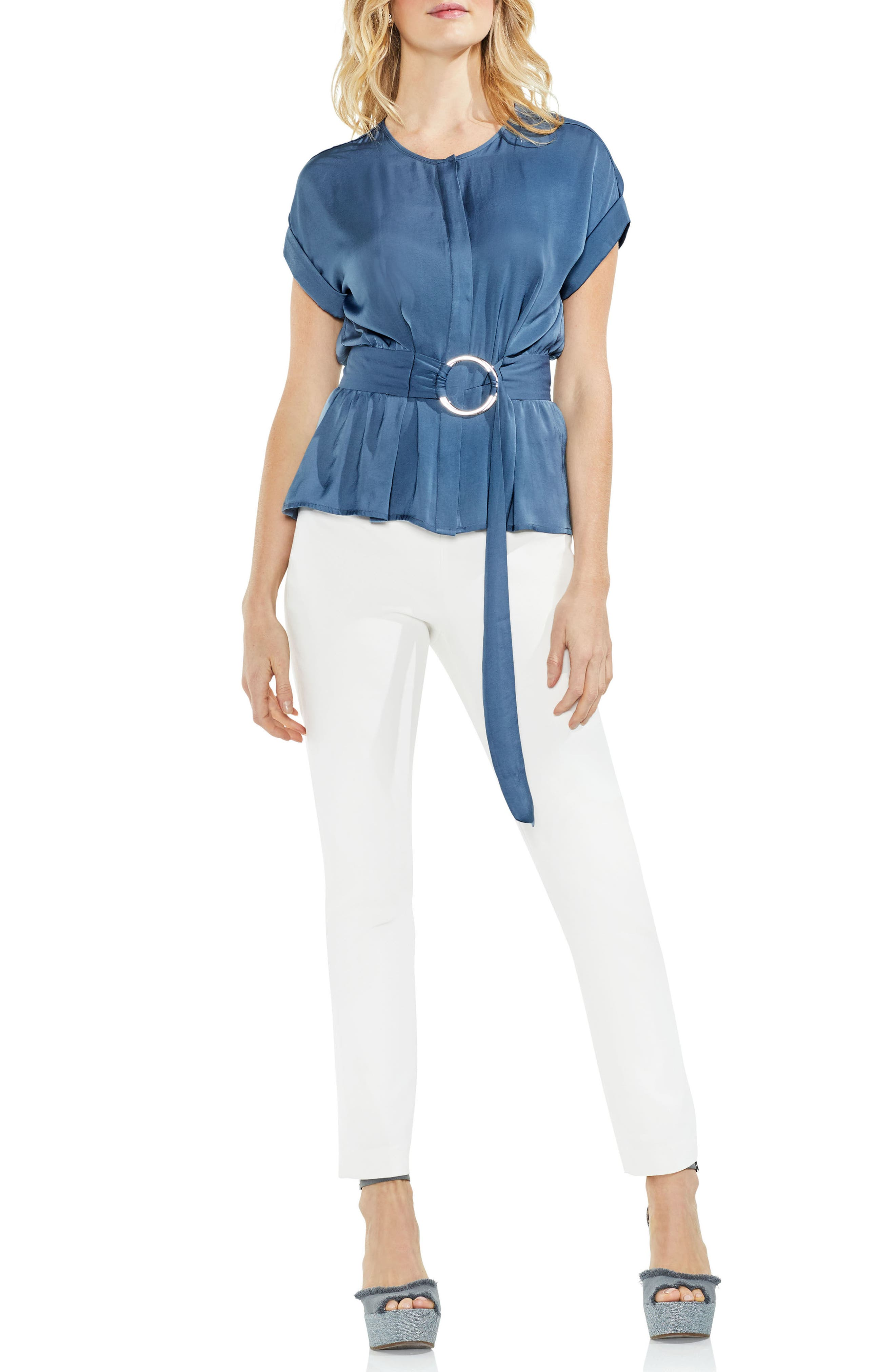 Hammered Satin Belted Blouse,                             Alternate thumbnail 3, color,                             China Blue
