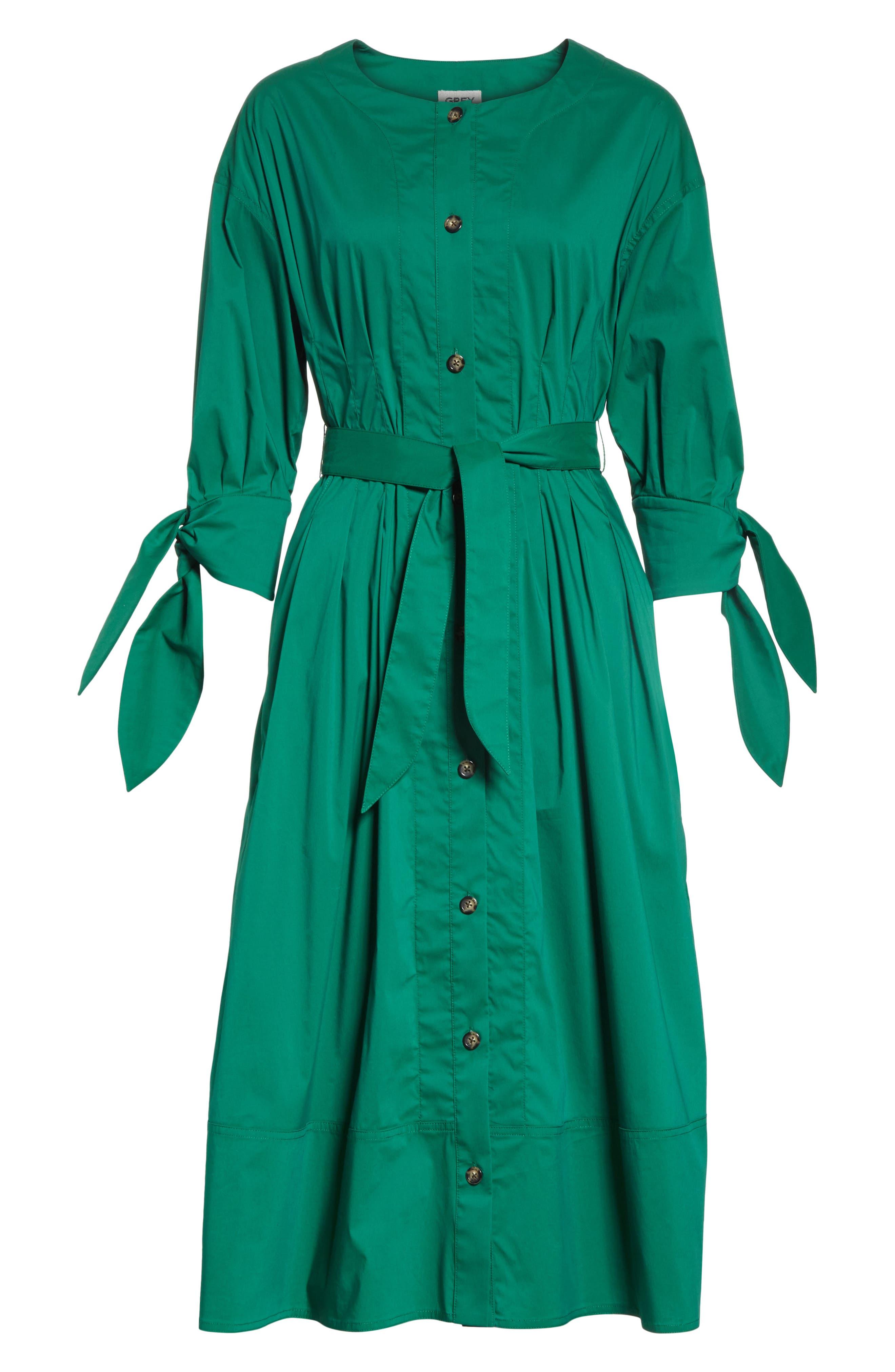Cotton Blend Tie Dress,                             Alternate thumbnail 7, color,                             Emerald
