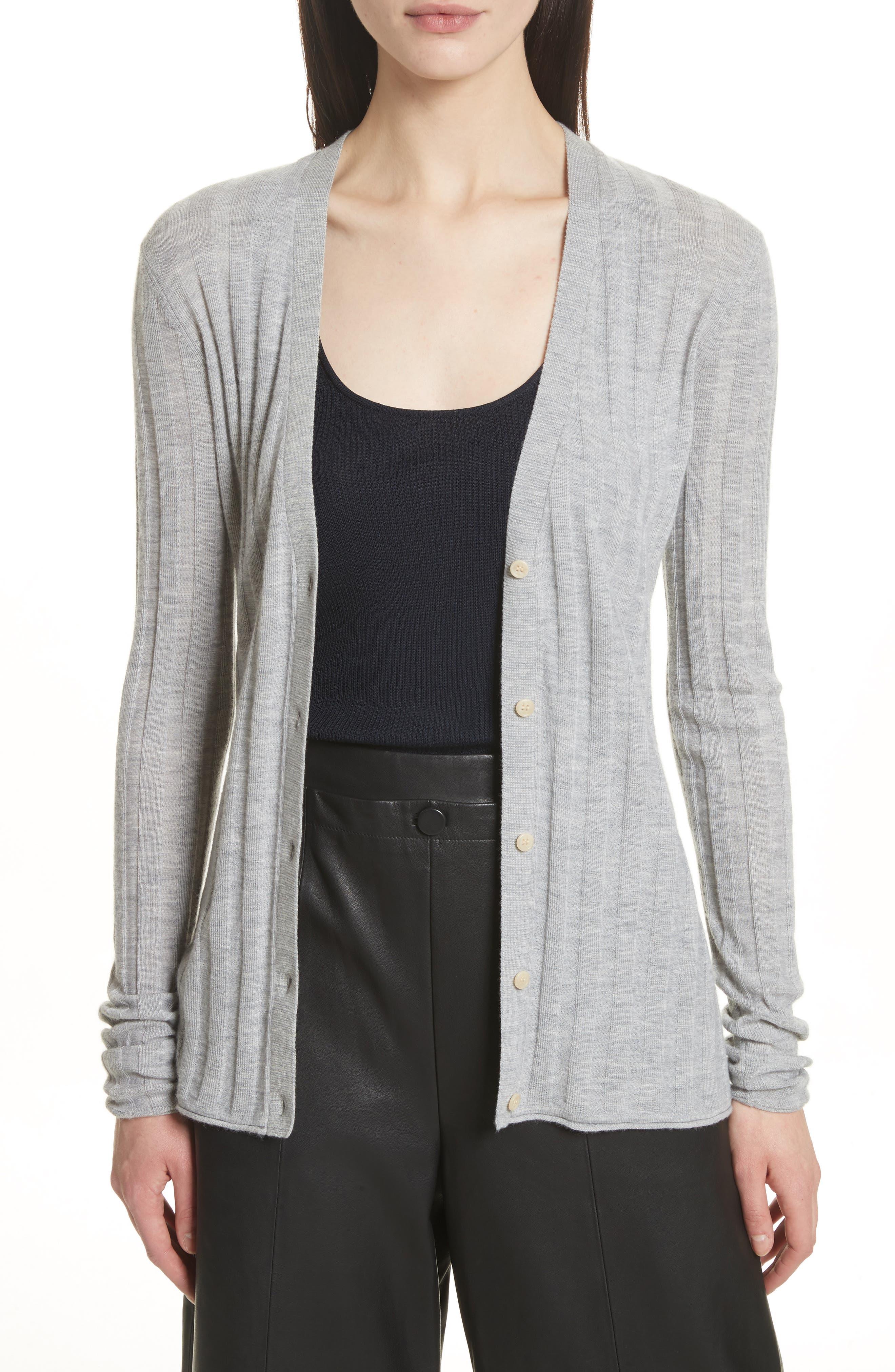 Cashmere Cardigan,                         Main,                         color, Tin Grey Melange
