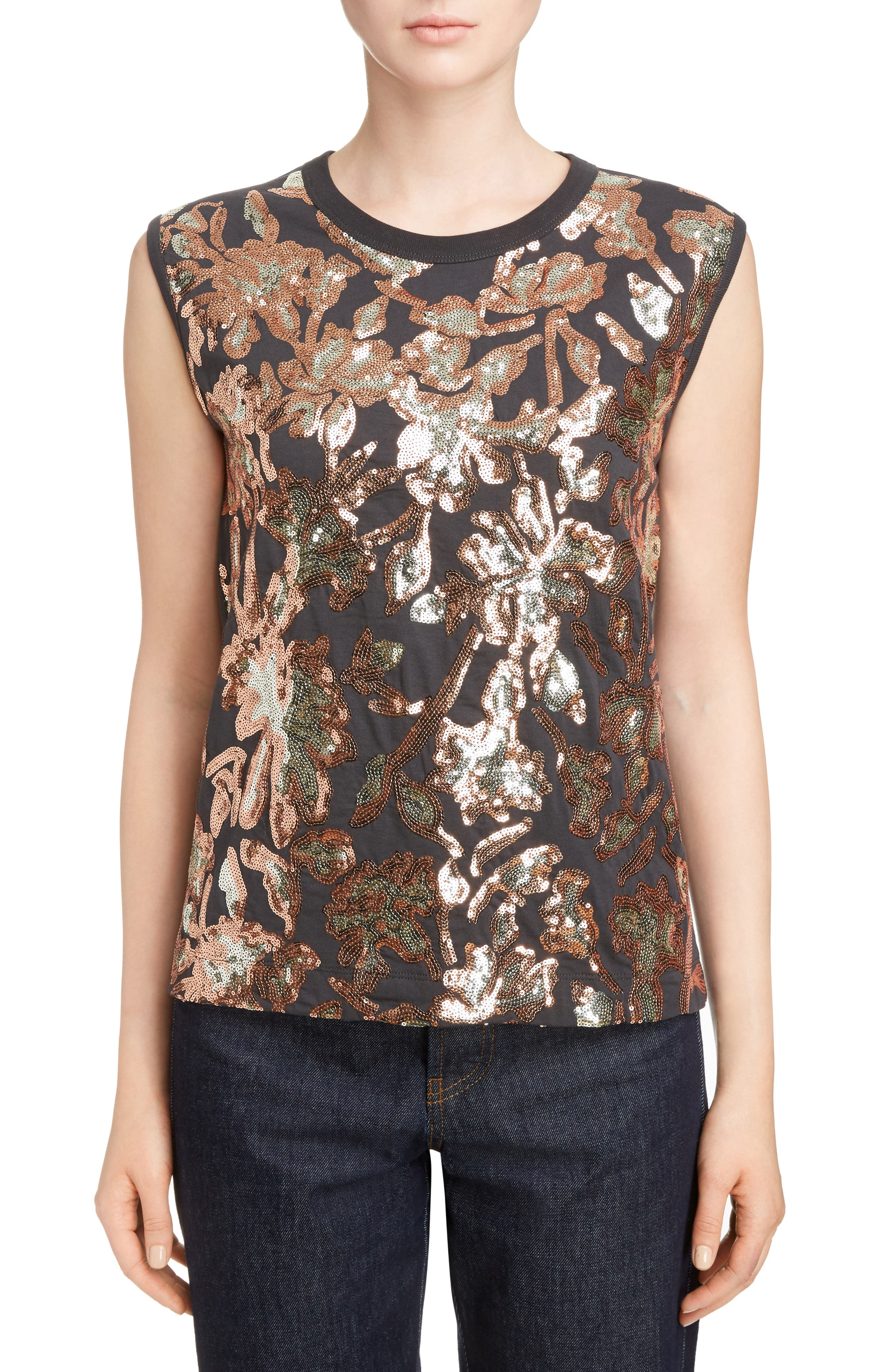 Sequin Sleeveless Tee,                         Main,                         color, Anthracite