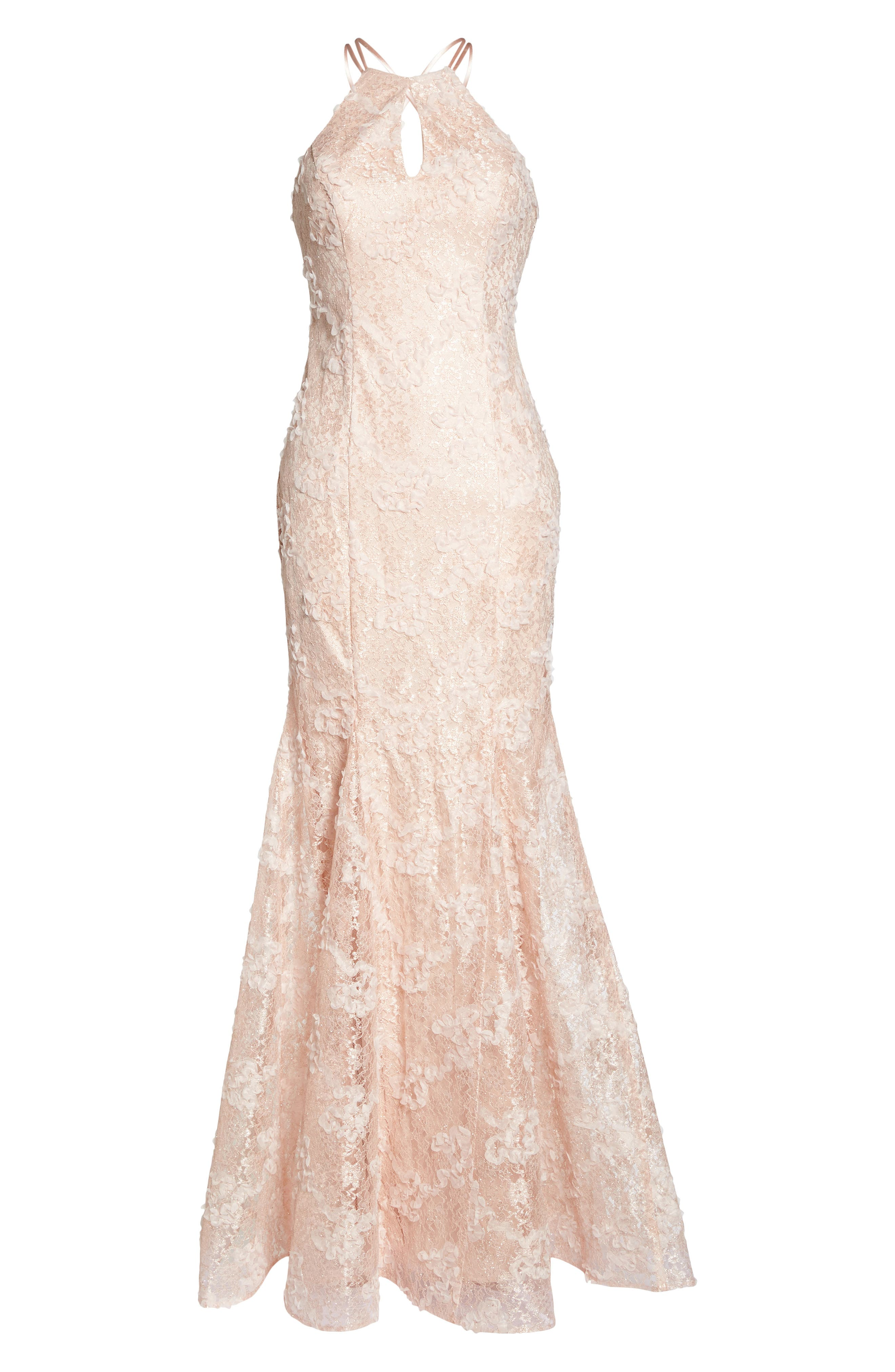 Ruched Lace Halter Mermaid Gown,                             Alternate thumbnail 6, color,                             Blush