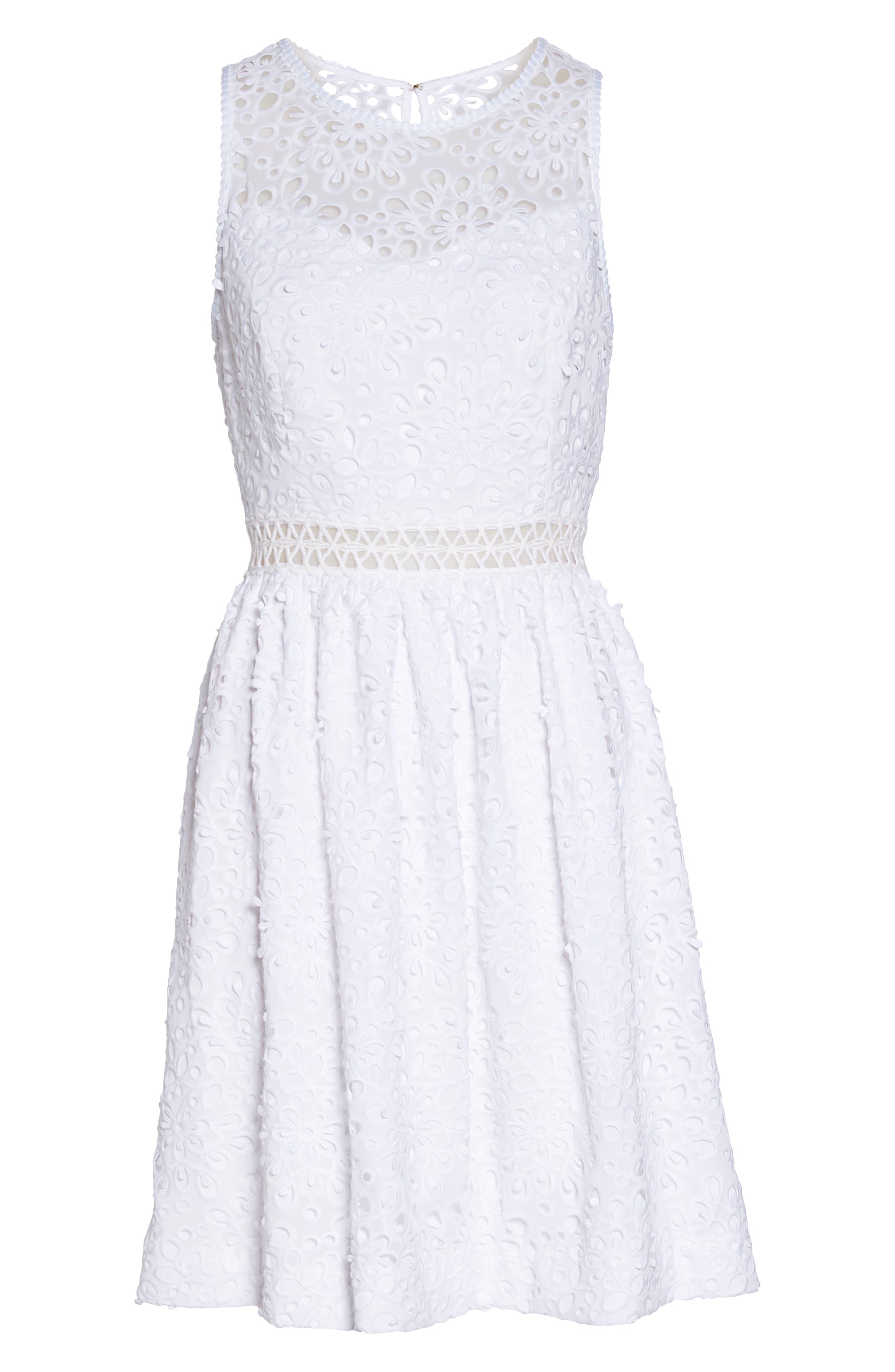 Alivia Eyelet Fit & Flare Dress,                             Alternate thumbnail 6, color,                             Resort White Sea Spray