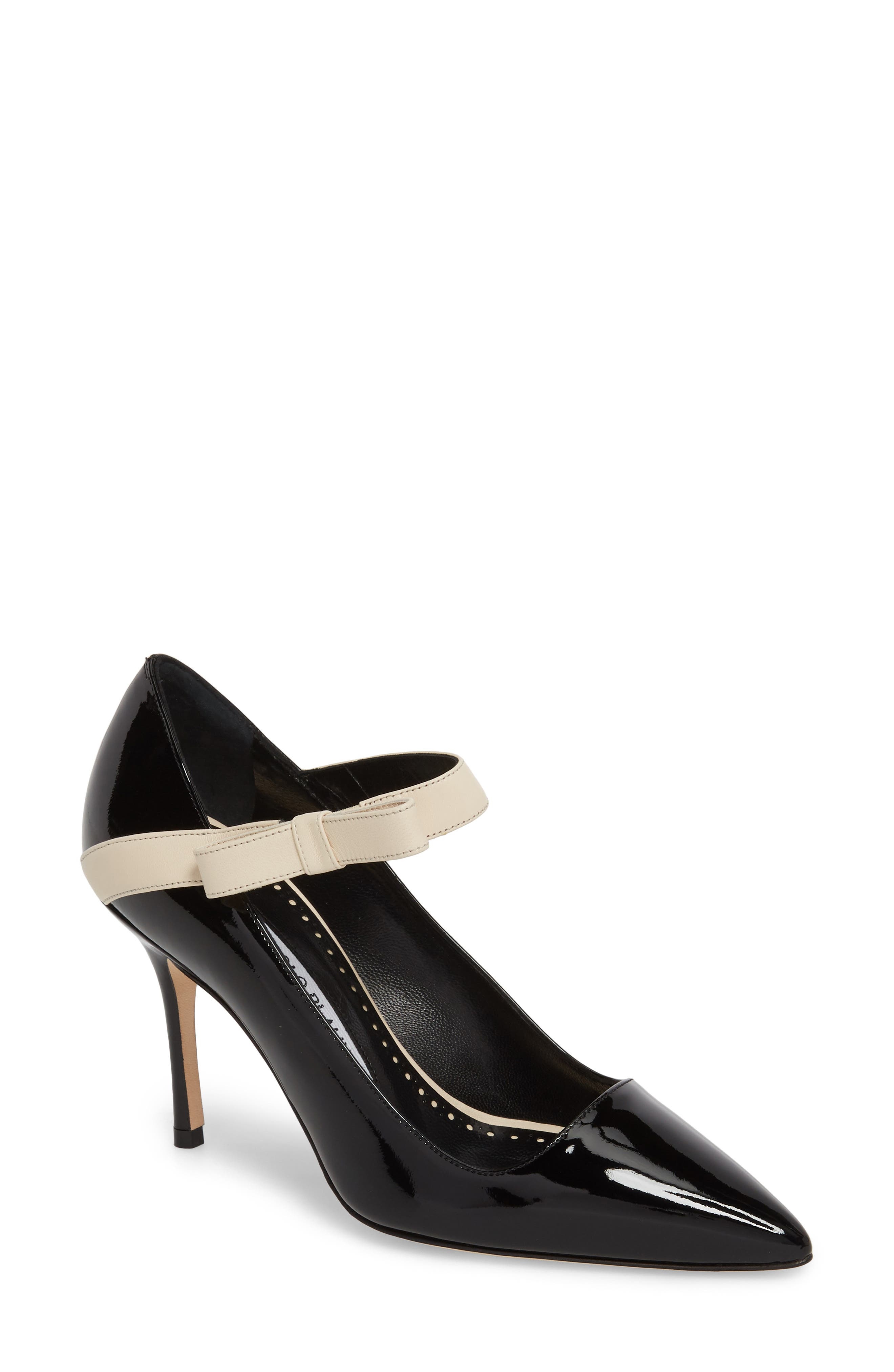 Immaculada Bow Pointy Toe Pump,                             Main thumbnail 1, color,                             Black/ White