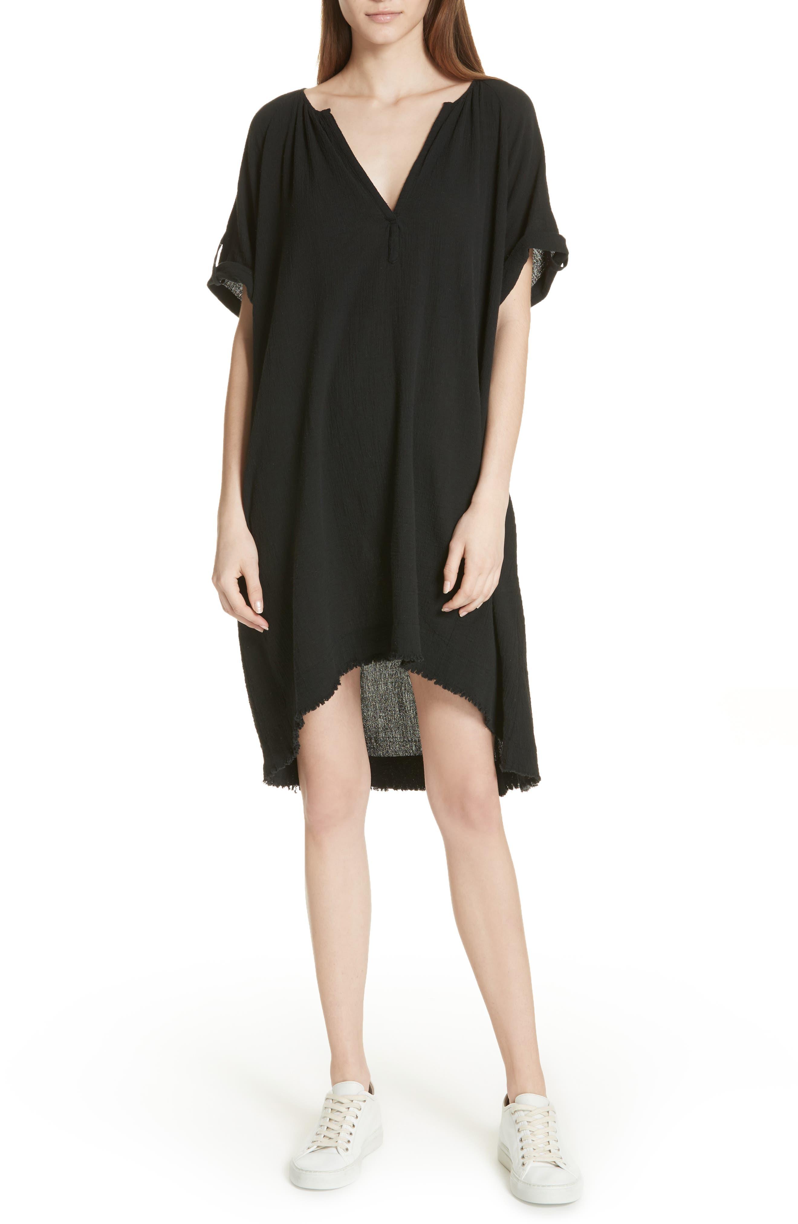 Gauze Dress,                         Main,                         color, Black