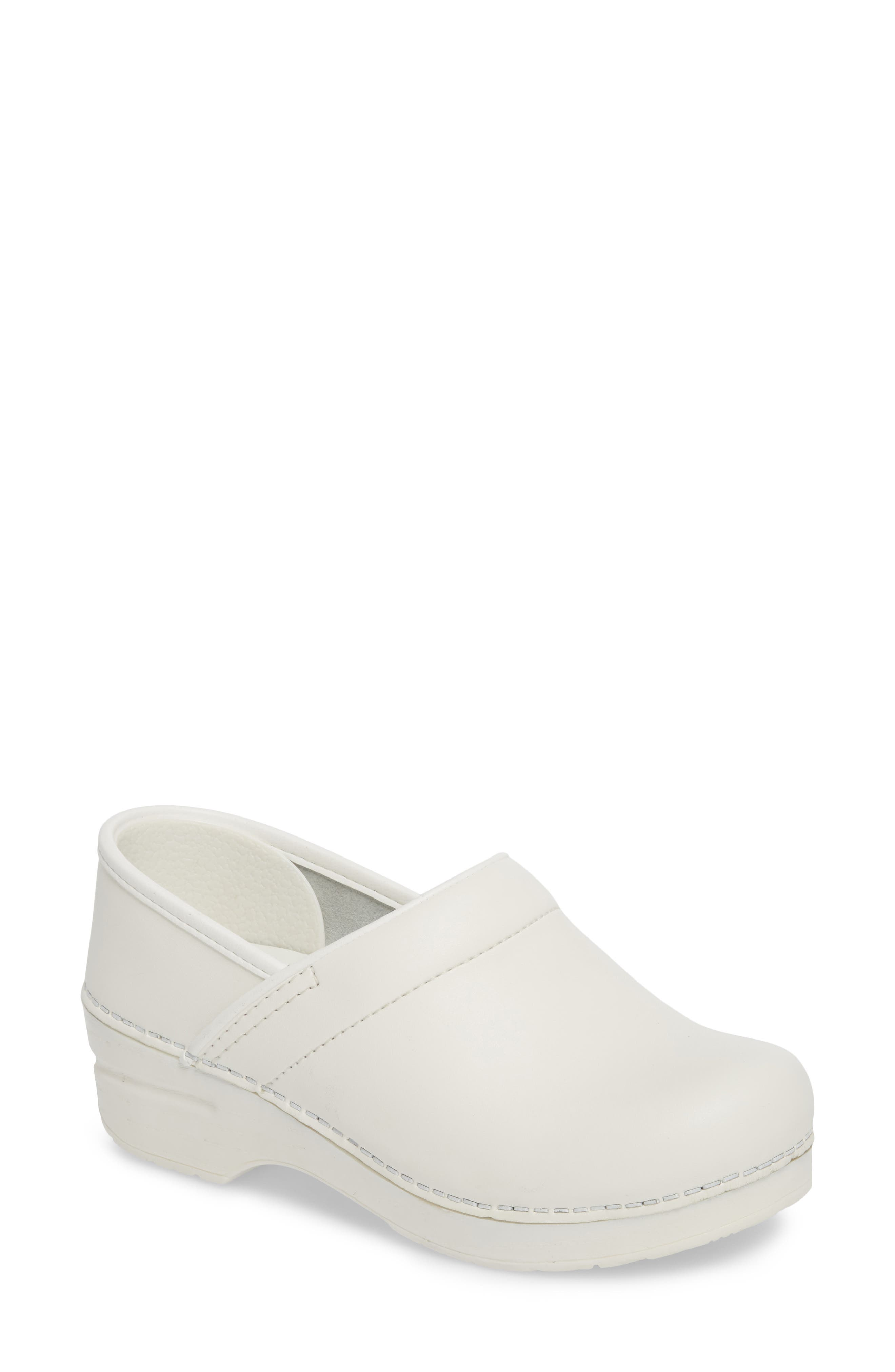 Wide Pro Clog,                             Main thumbnail 1, color,                             White Leather