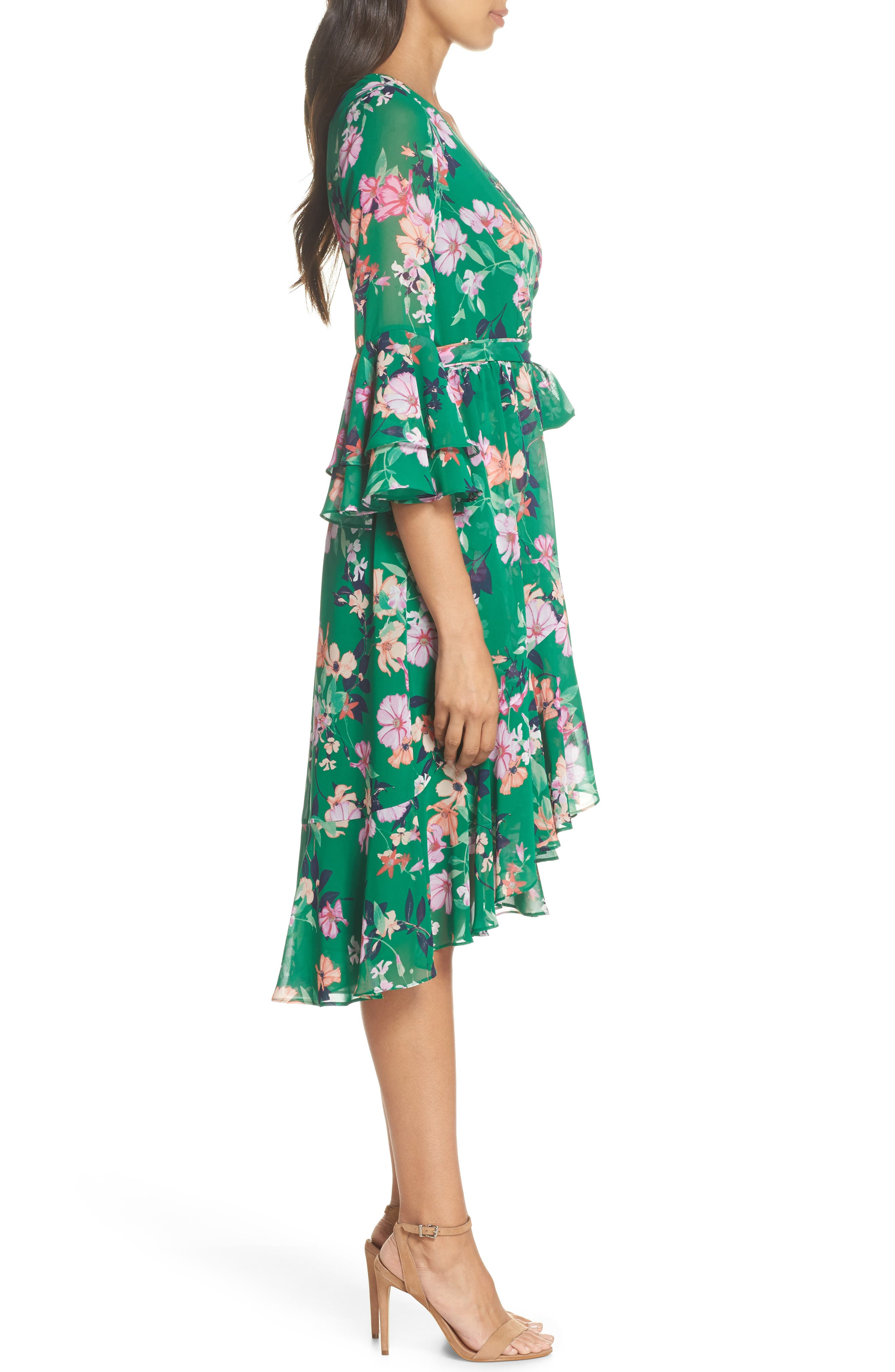 Double Bell Sleeve Faux Wrap Dress,                             Alternate thumbnail 6, color,                             Green
