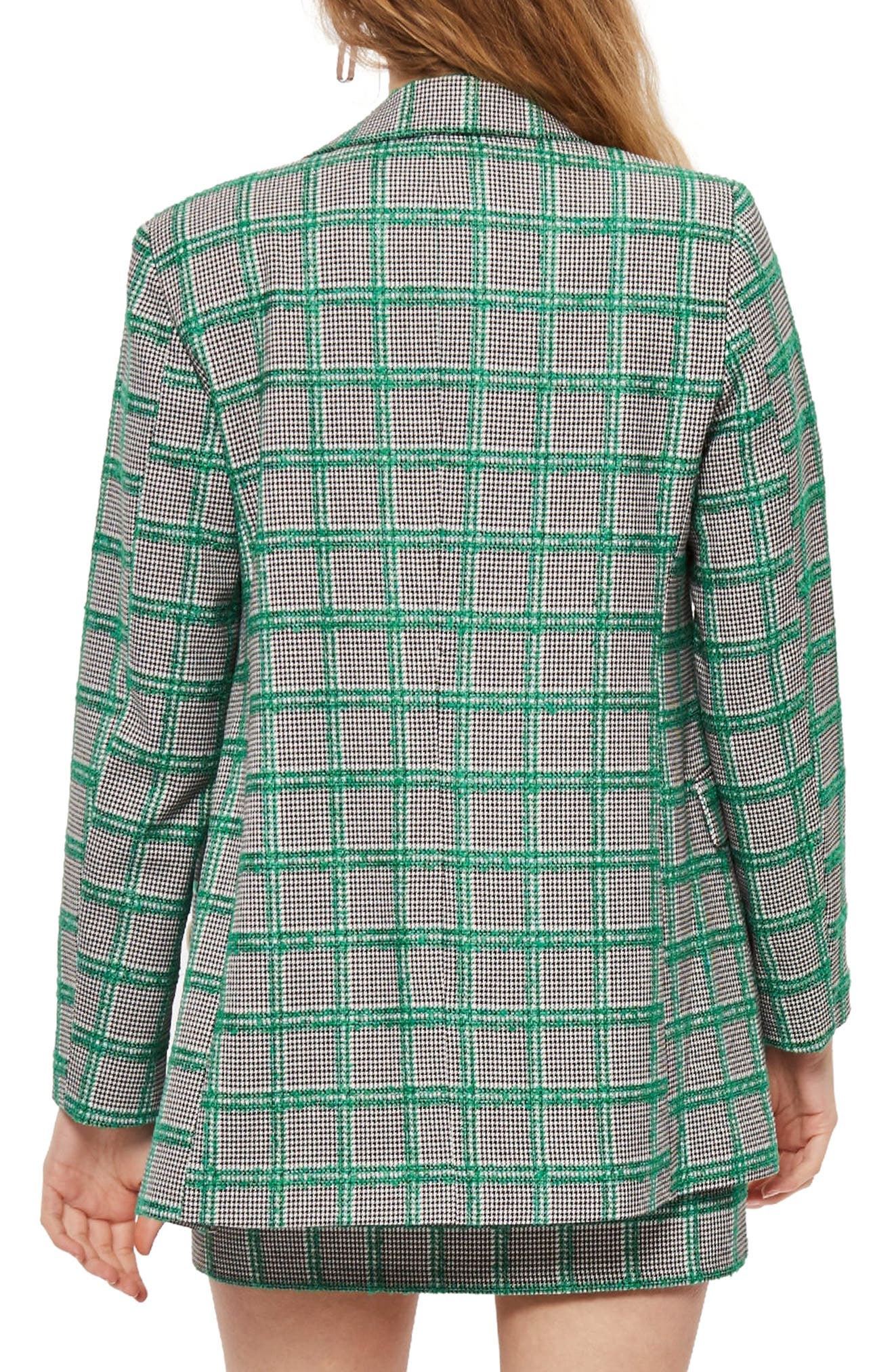 Double Breasted Windowpane Plaid Jacket,                             Alternate thumbnail 2, color,                             Green Multi