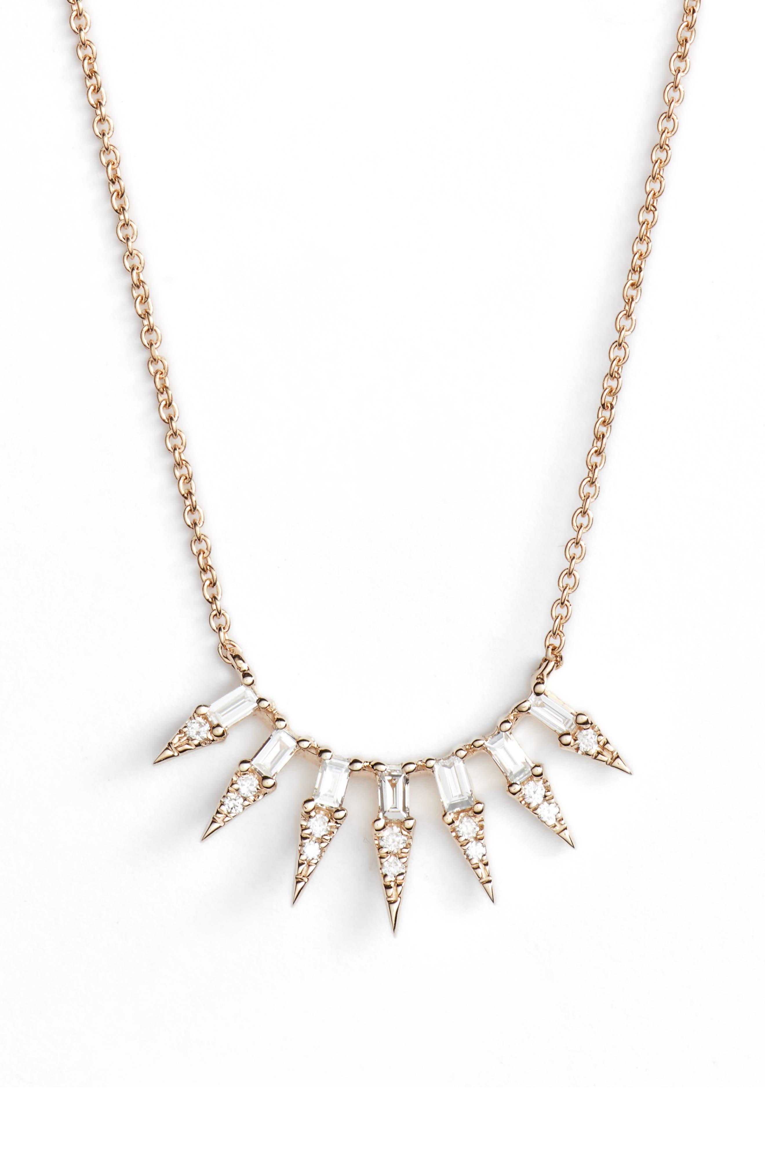 Sadie Pearl Seven Dagger Diamond Necklace,                         Main,                         color, Yellow Gold