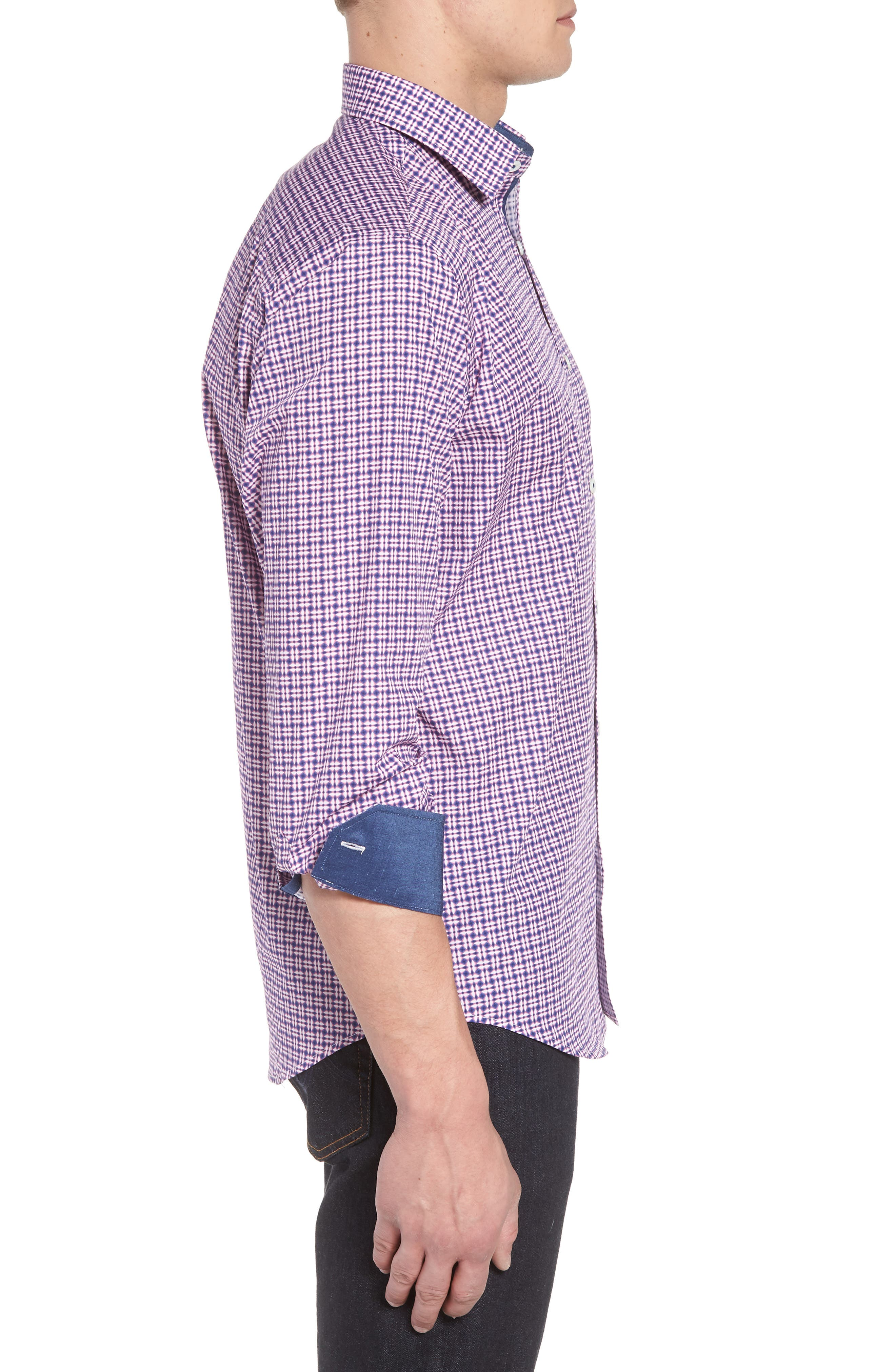 Classic Fit Woven Sport Shirt,                             Alternate thumbnail 3, color,                             Pink