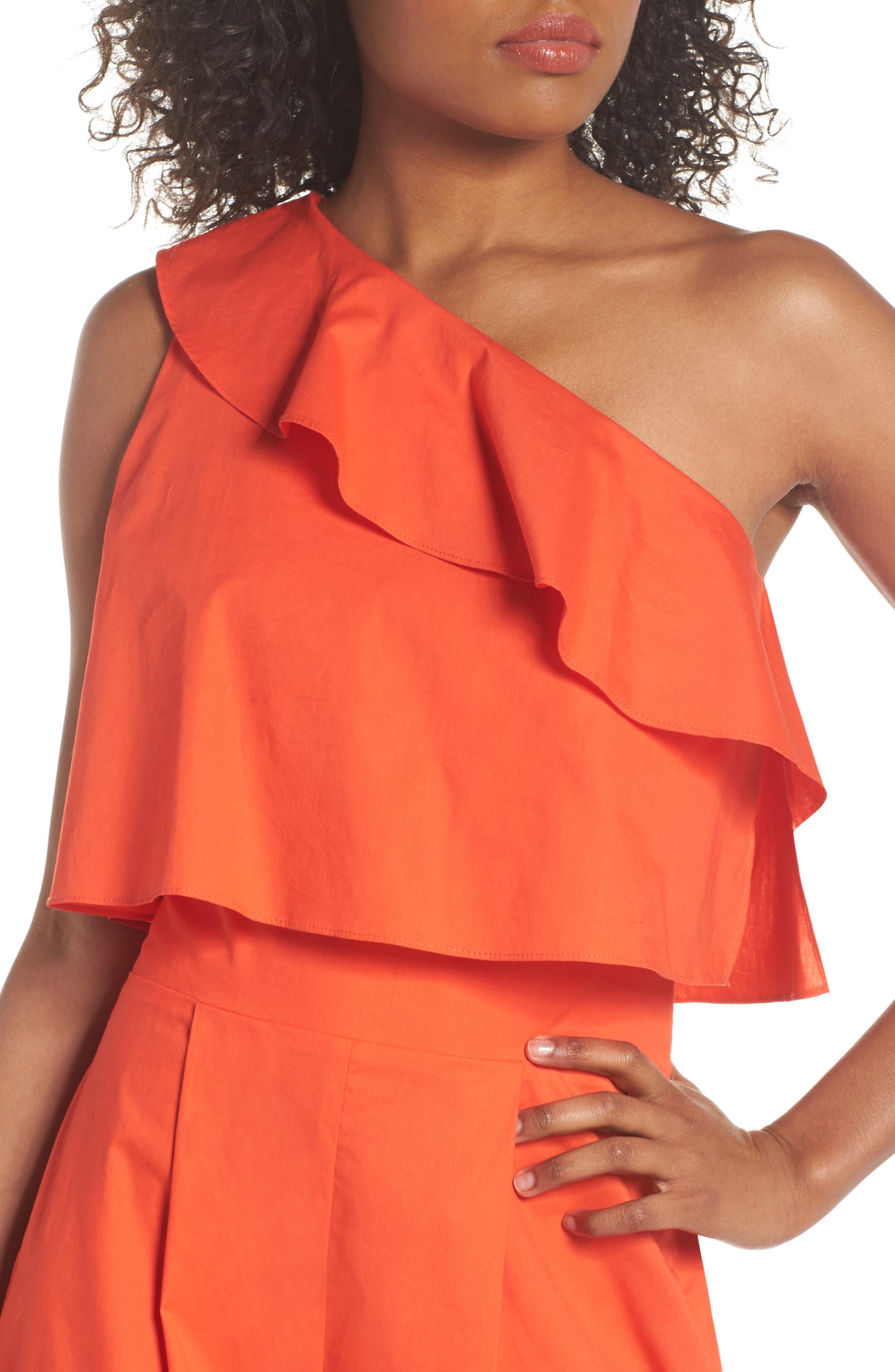 Ruffle One-Shoulder Crop Jumpsuit,                             Alternate thumbnail 4, color,                             Blood Orange