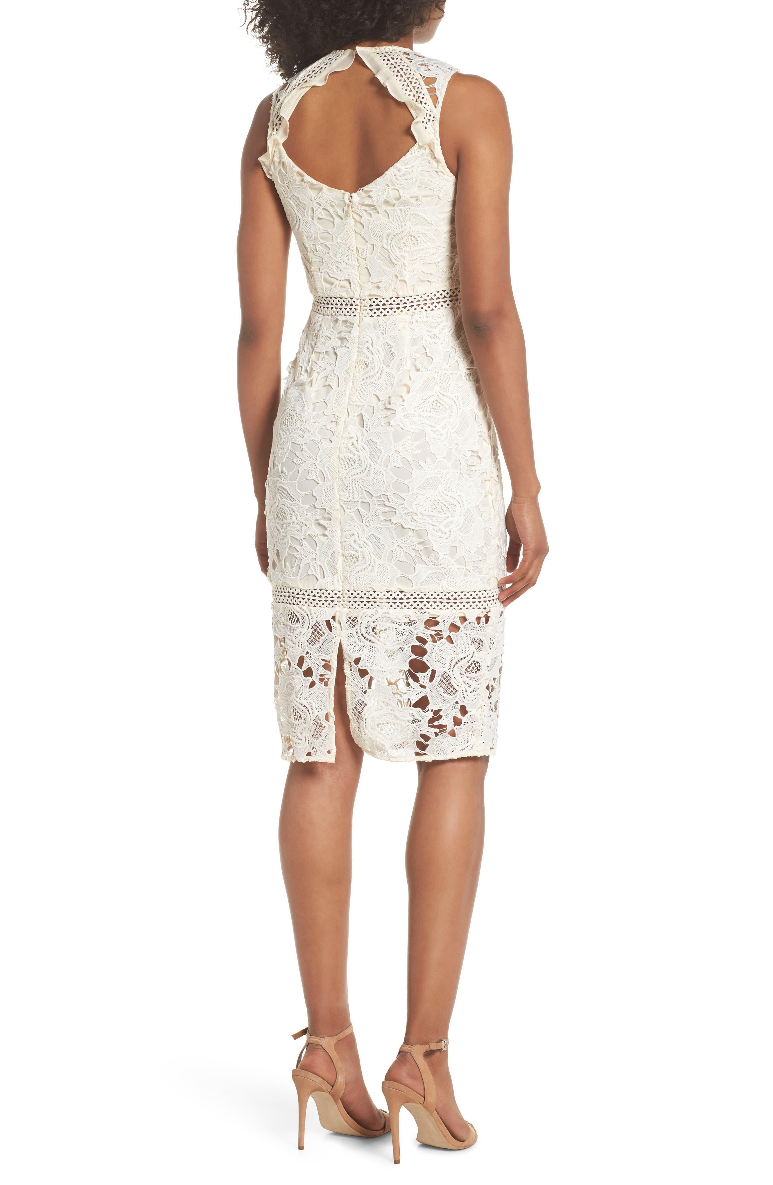 Lustrous High Neck Lace Sheath Dress,                             Alternate thumbnail 2, color,                             Coconut Milk