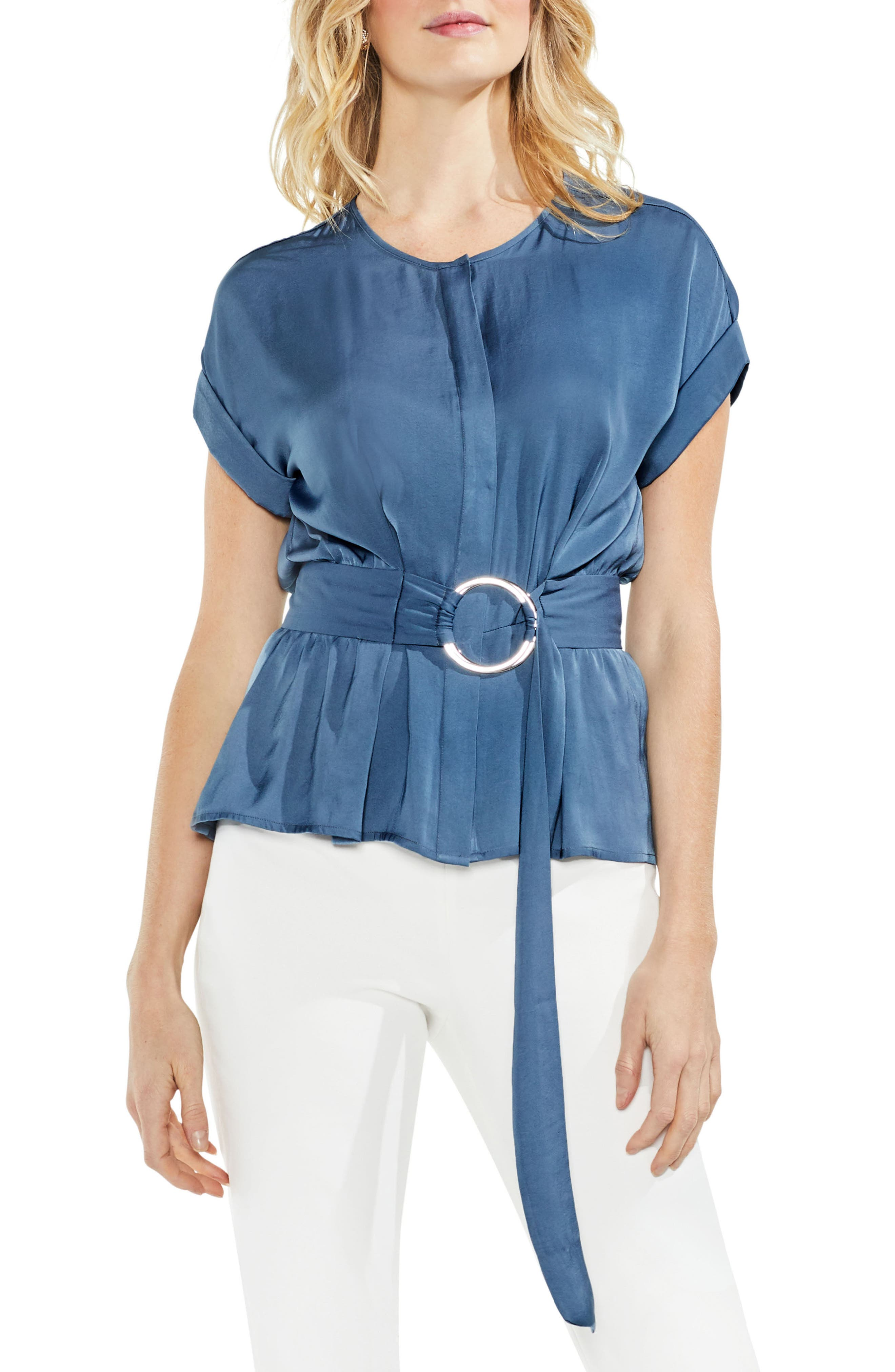 Hammered Satin Belted Blouse,                         Main,                         color, China Blue