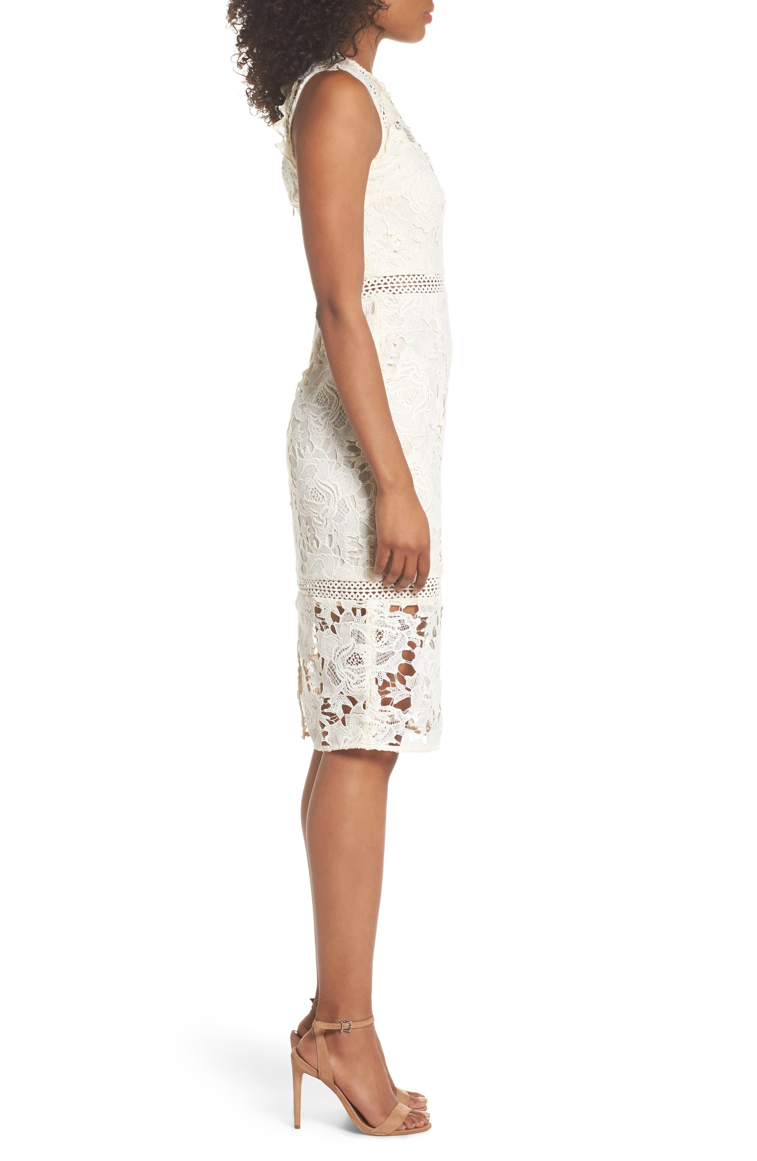 Lustrous High Neck Lace Sheath Dress,                             Alternate thumbnail 3, color,                             Coconut Milk