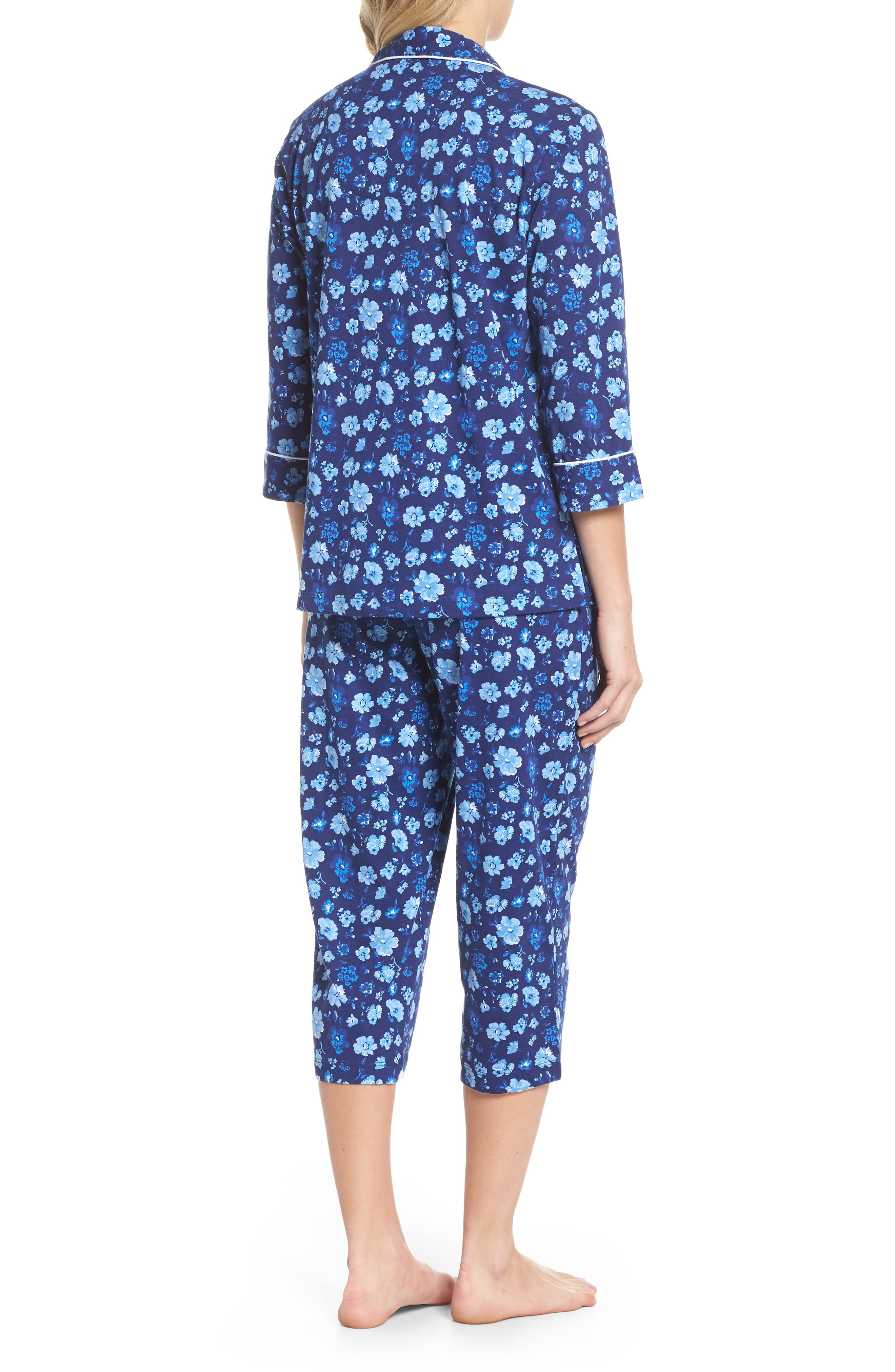 Cropped Pajamas,                             Alternate thumbnail 2, color,                             Blue Floral