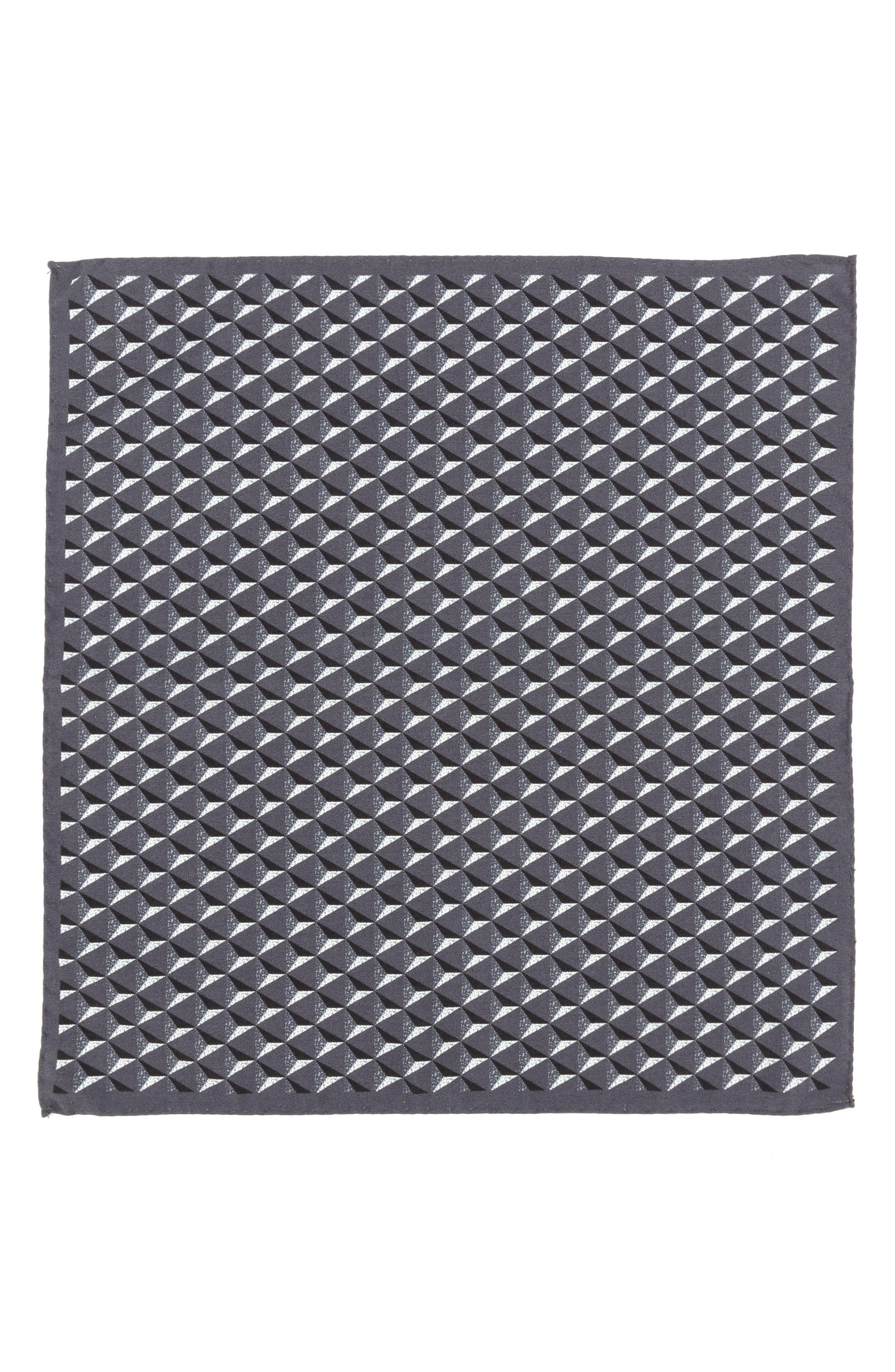 Geometric Silk Pocket Square,                             Alternate thumbnail 2, color,                             Grey