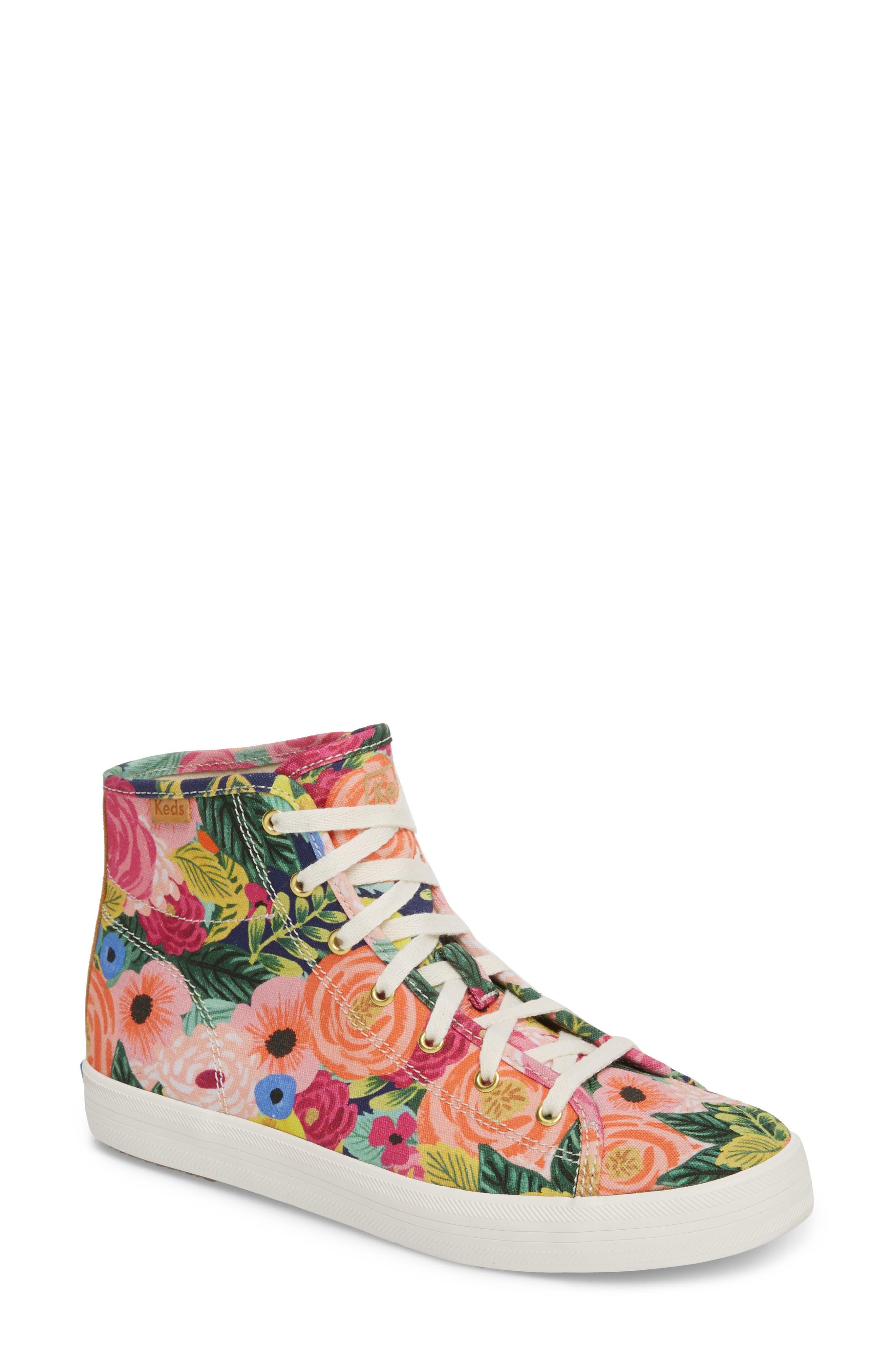 x Rifle Paper Co. Kickstart Julie High Top Sneaker,                         Main,                         color, Pink Multi