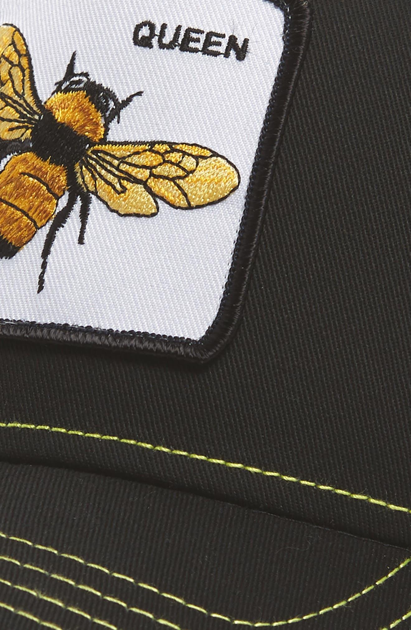 Queen Bee Trucker Cap,                             Alternate thumbnail 3, color,                             Black