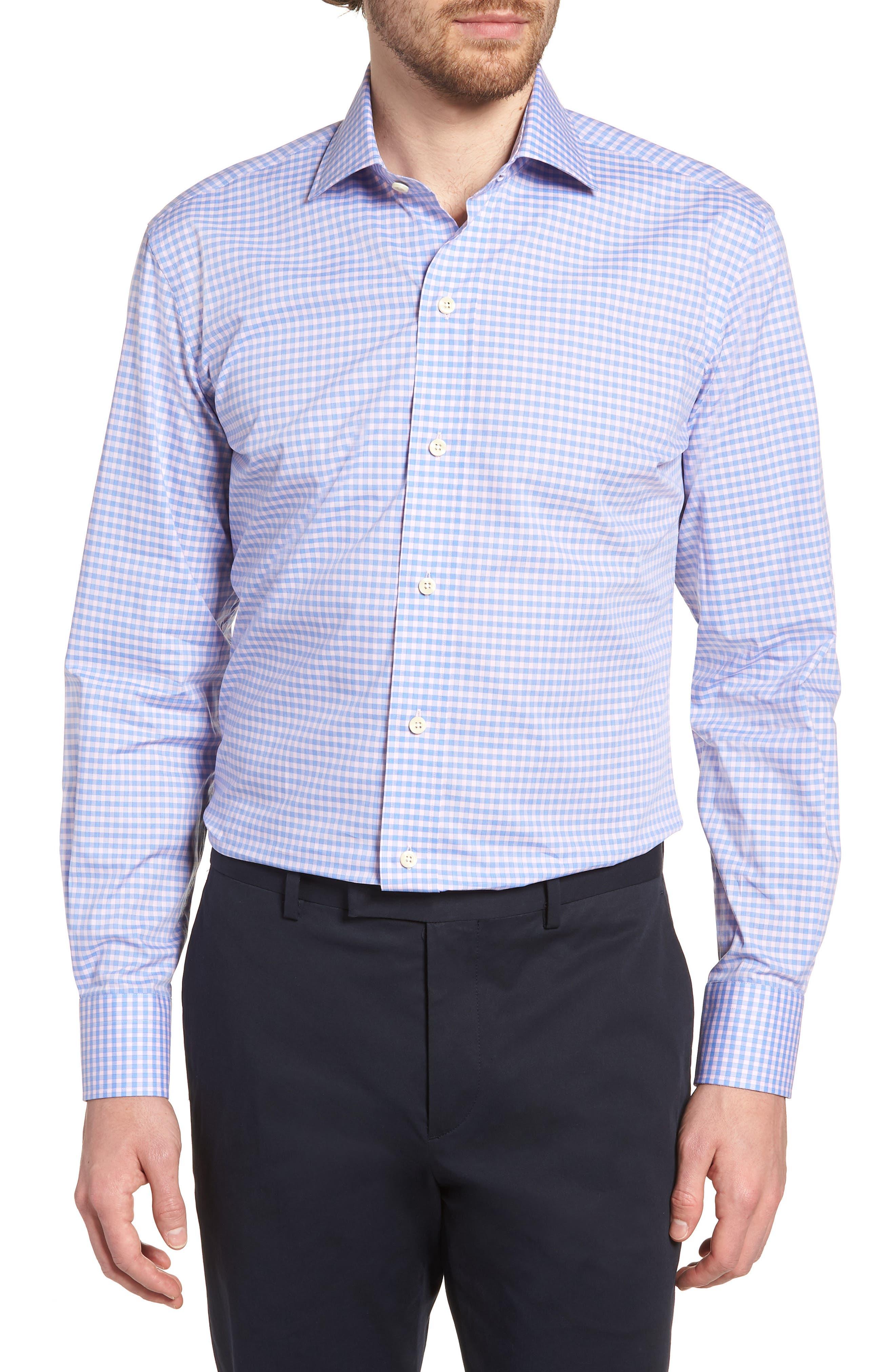 Prestwick Slim Fit Check Dress Shirt,                         Main,                         color, Pink