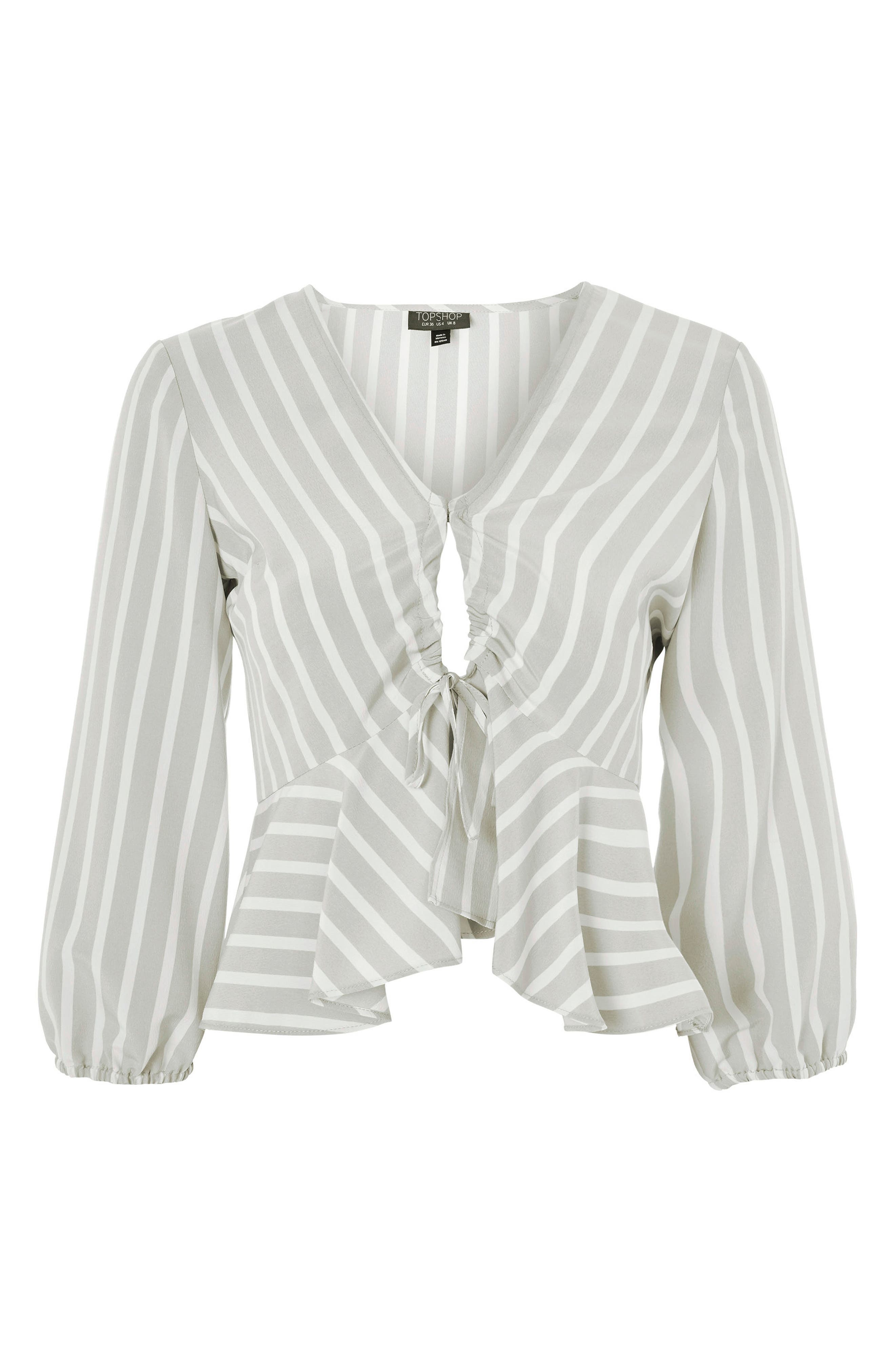 Betty Stripe Ruched Keyhole Blouse,                             Alternate thumbnail 4, color,                             Grey