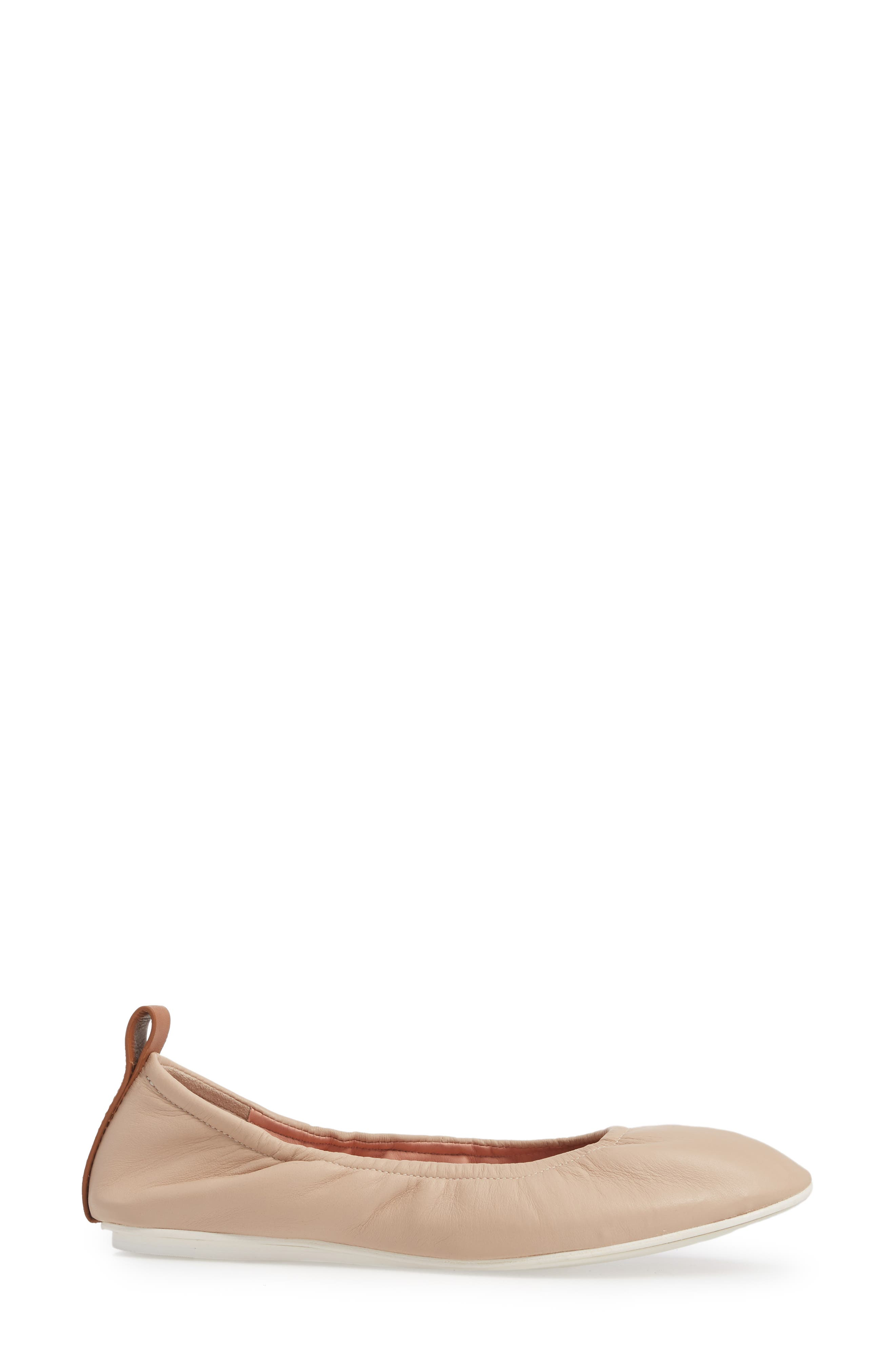Carola Ballet Flat,                             Alternate thumbnail 3, color,                             Nude