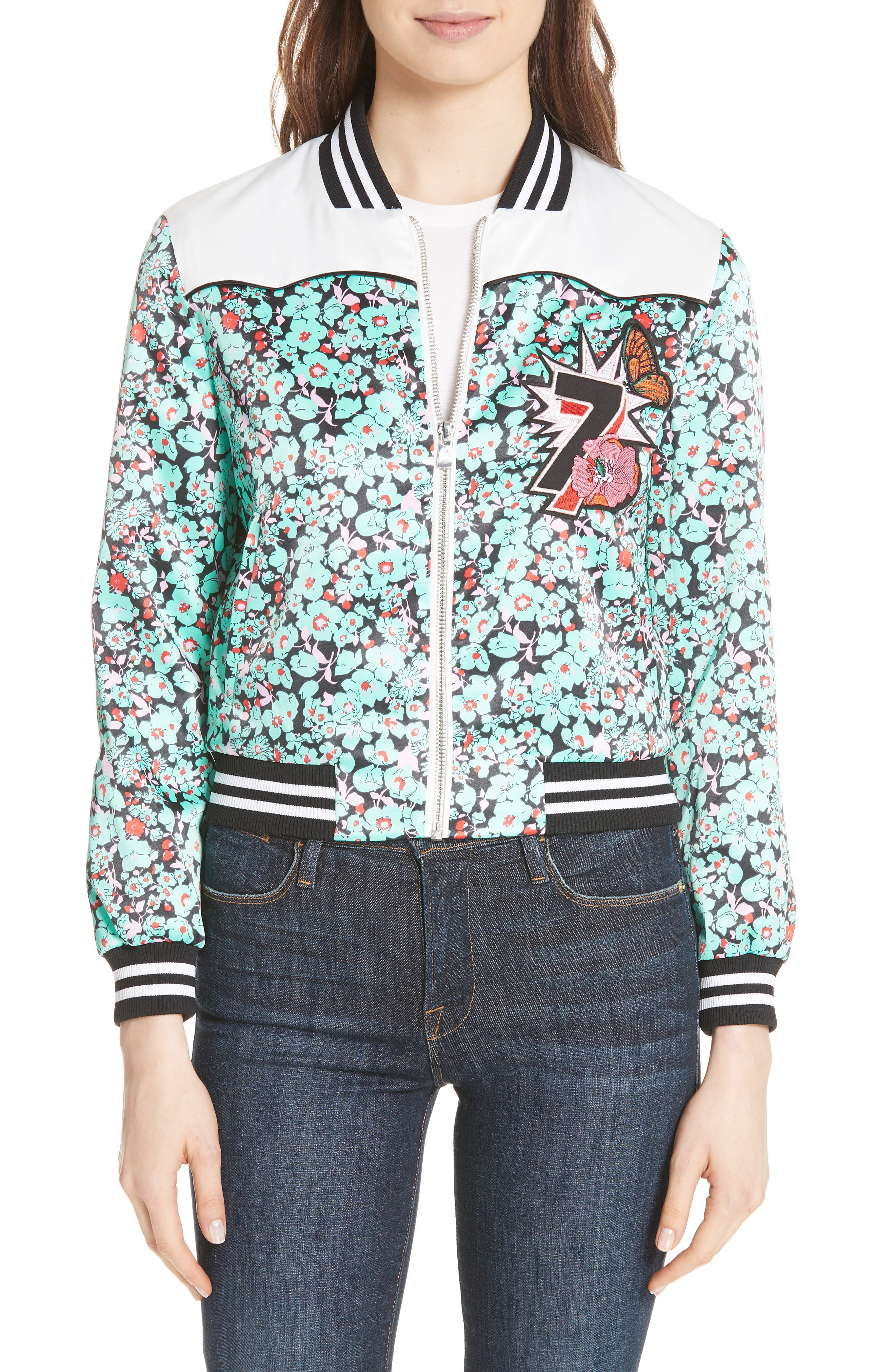 Bert Floral Bomber Jacket,                         Main,                         color, Printed