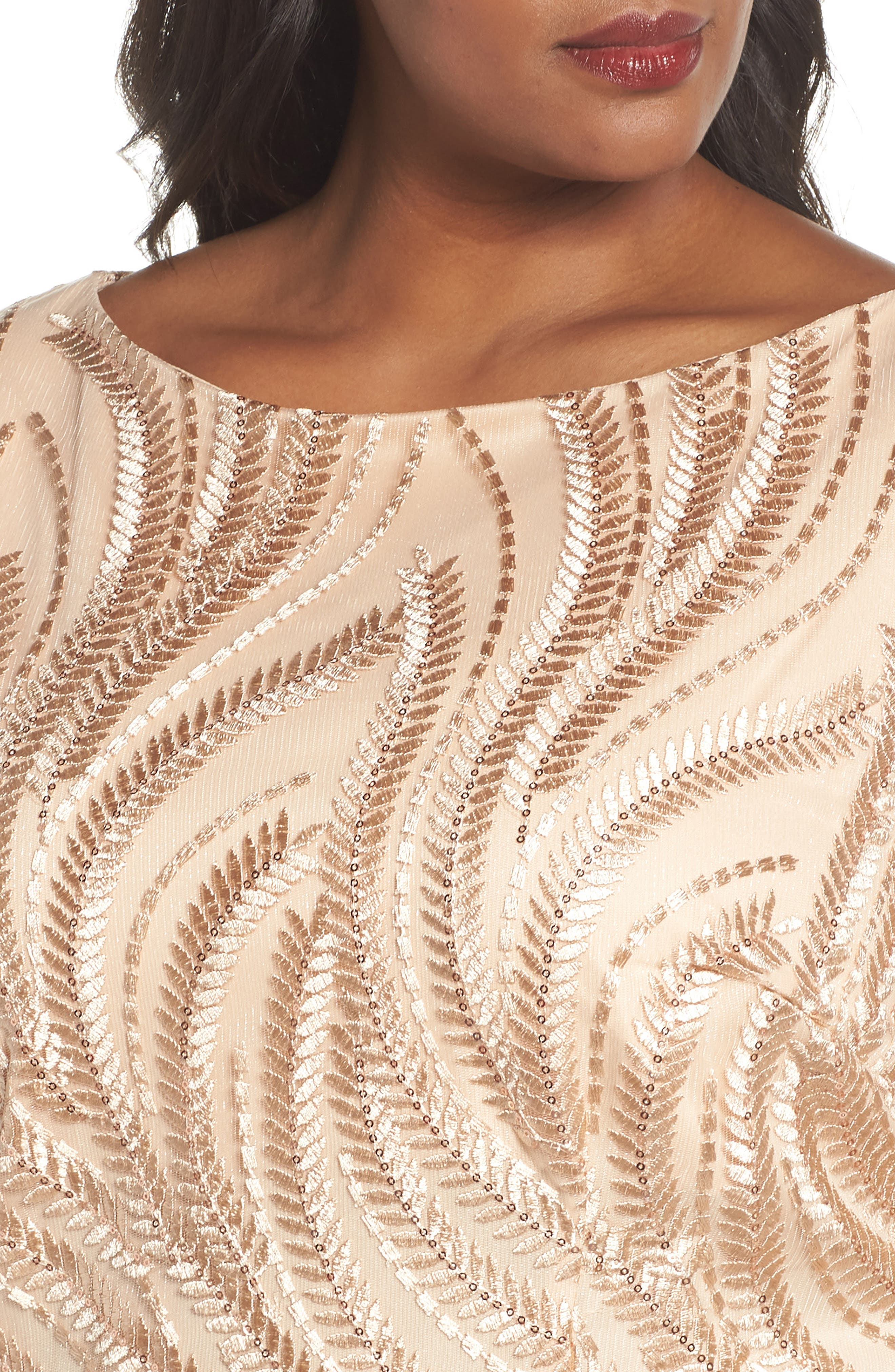 Alternate Image 4  - Brianna Sequin Embroidered Lace Sheath Dress (Plus Size)