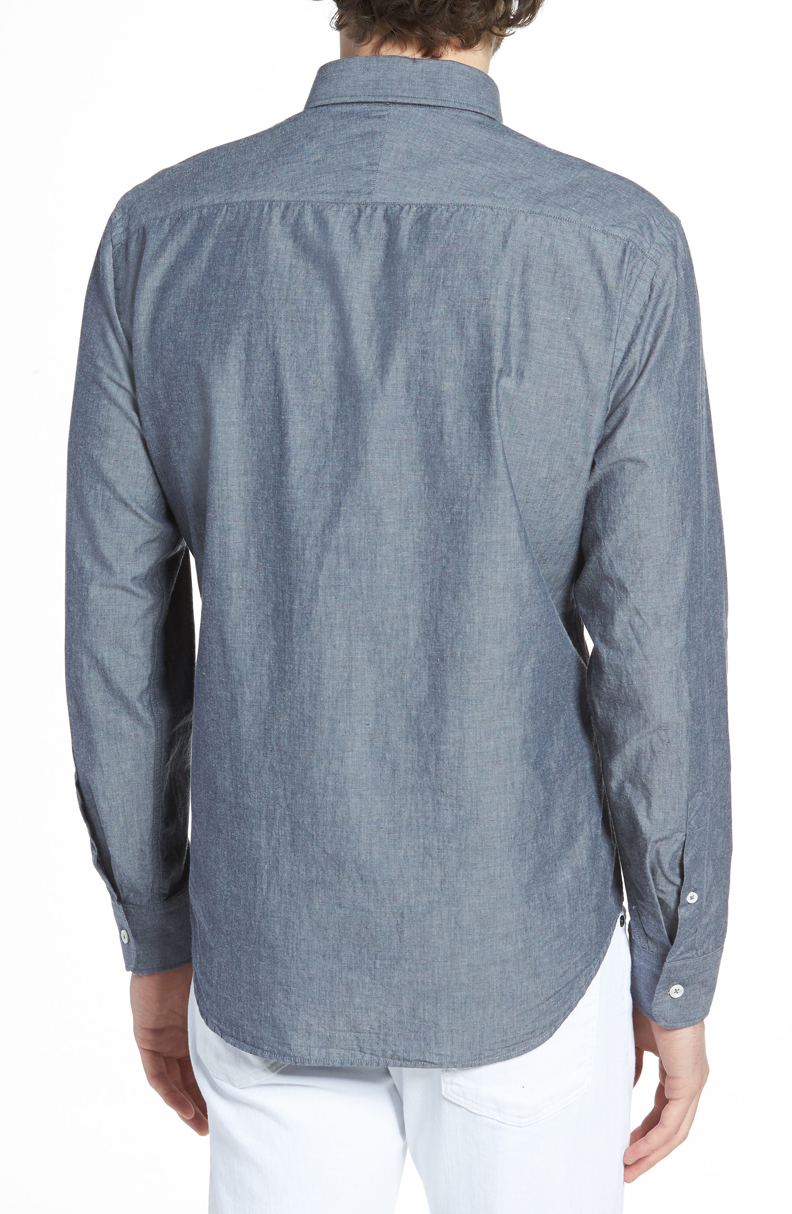 Kirby Slim Fit Solid Sport Shirt,                             Alternate thumbnail 3, color,                             Dark Indigo