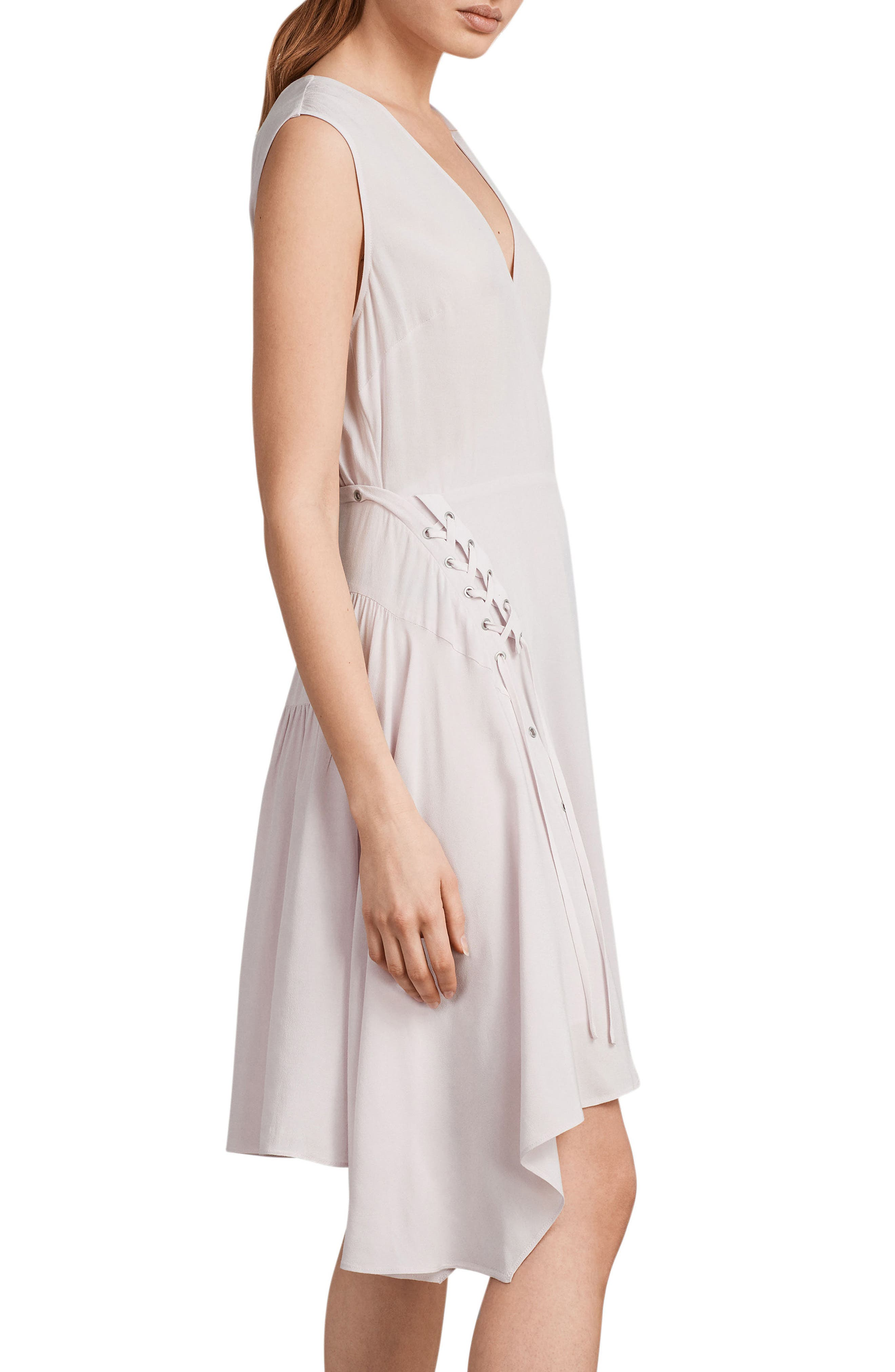 Miller Lace-Up Dress,                             Alternate thumbnail 3, color,                             Lilac Pink