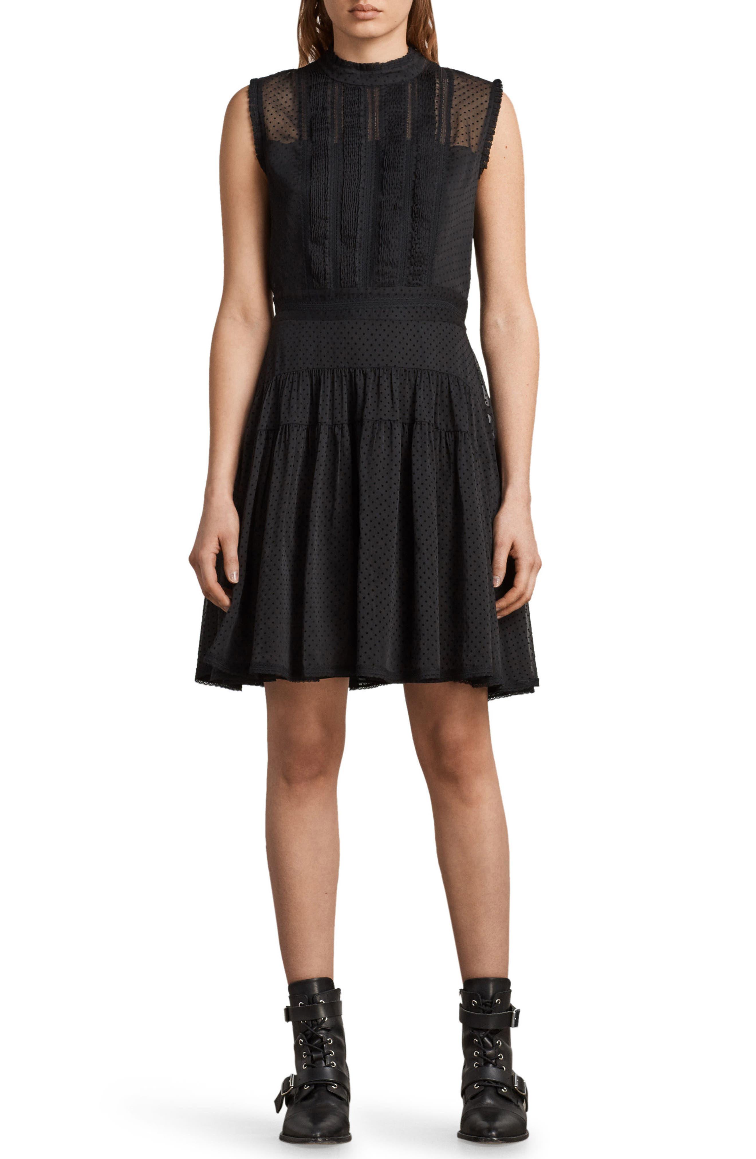 Myra Dot Pintuck Dress,                         Main,                         color, Black