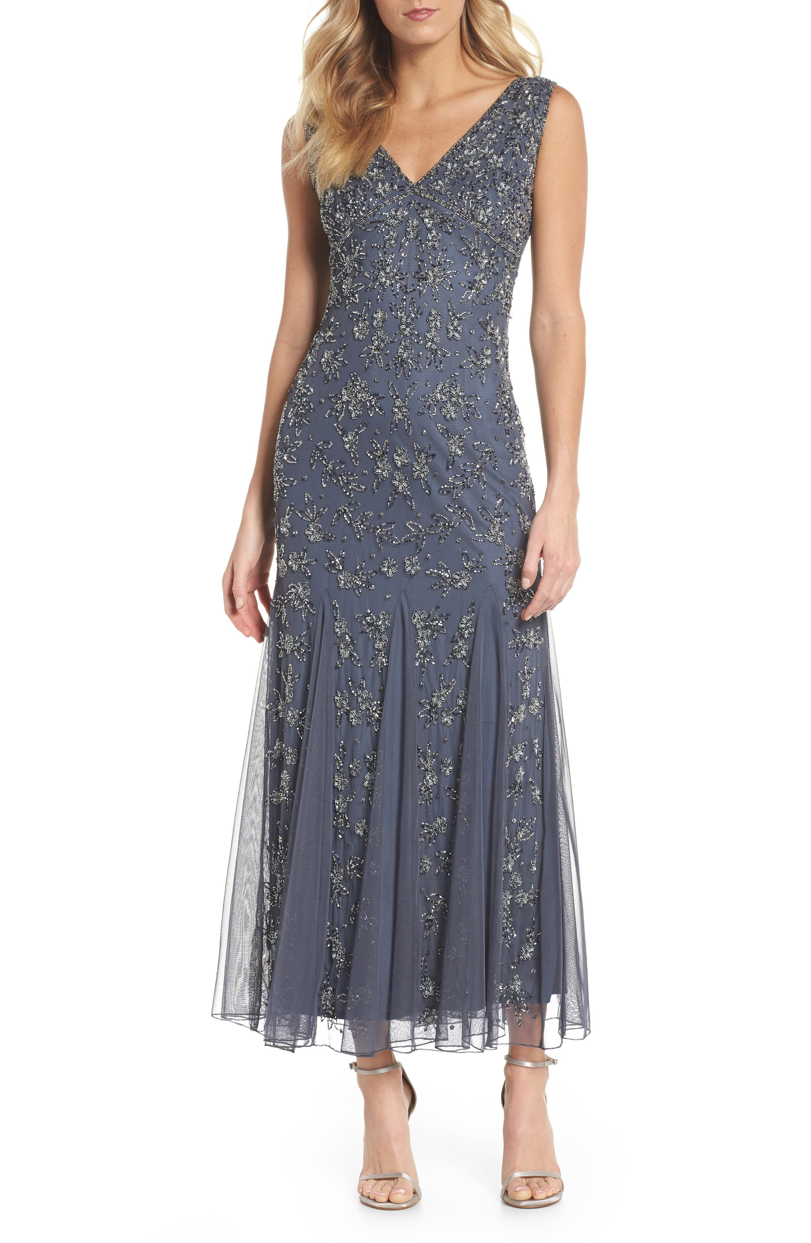 Pisarro Nights Beaded Godet Gown (Regular & Petite)