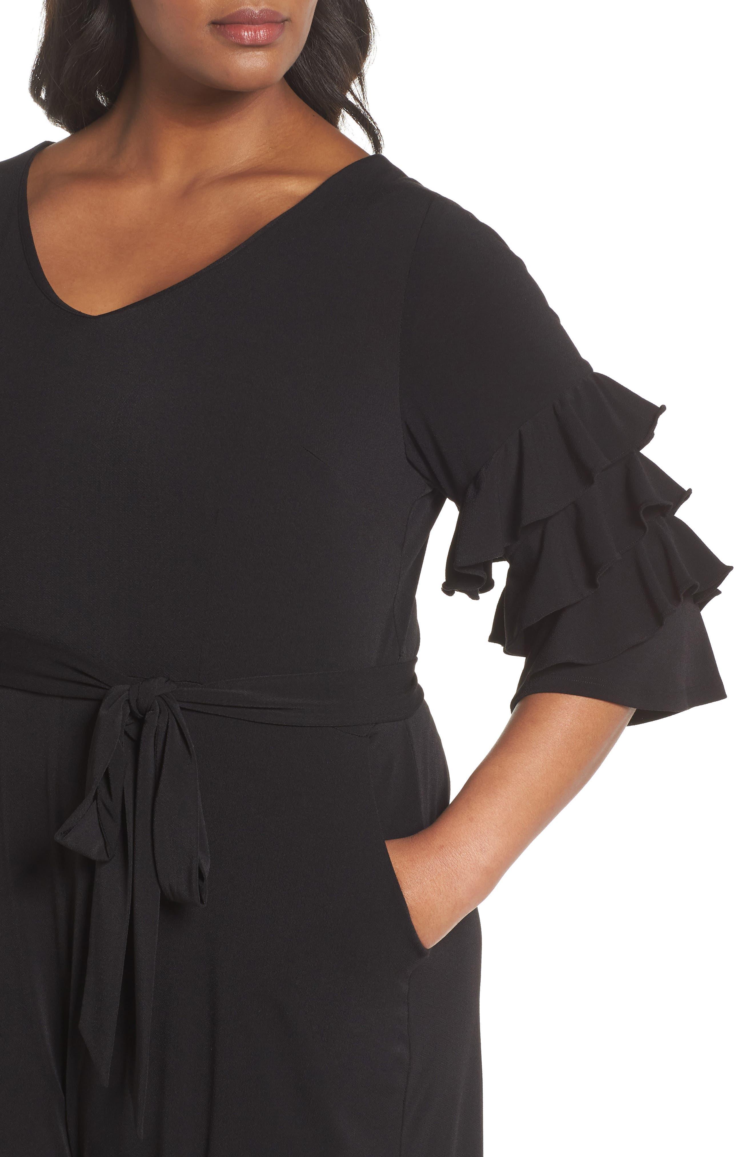 Tiered Ruffle Sleeve Crepe Jumpsuit,                             Alternate thumbnail 4, color,                             Black