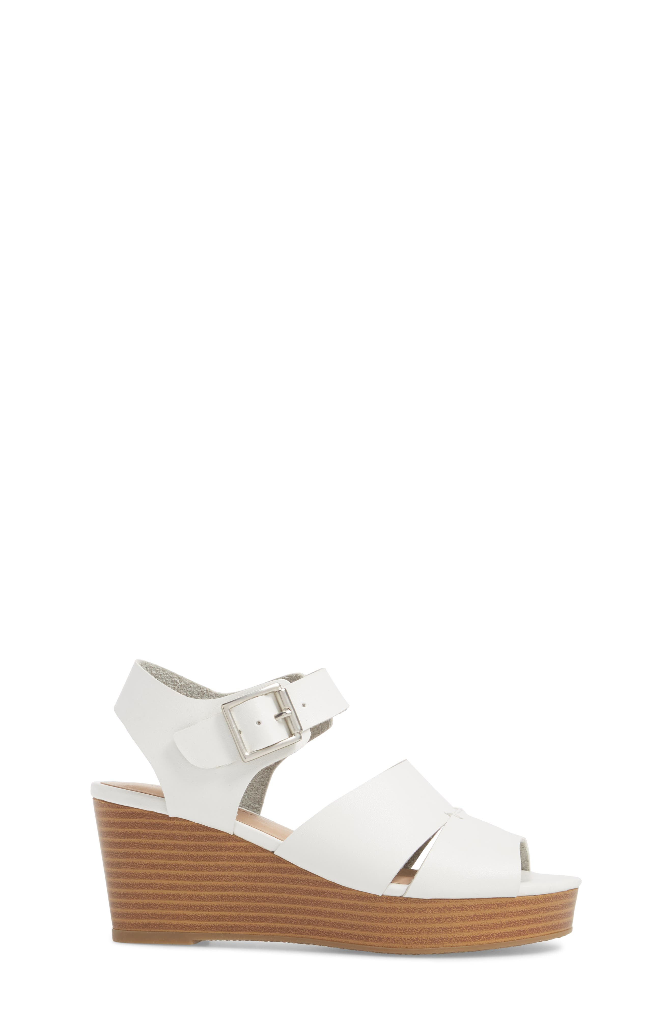 Hunter Platform Wedge Sandal,                             Alternate thumbnail 3, color,                             White Faux Leather