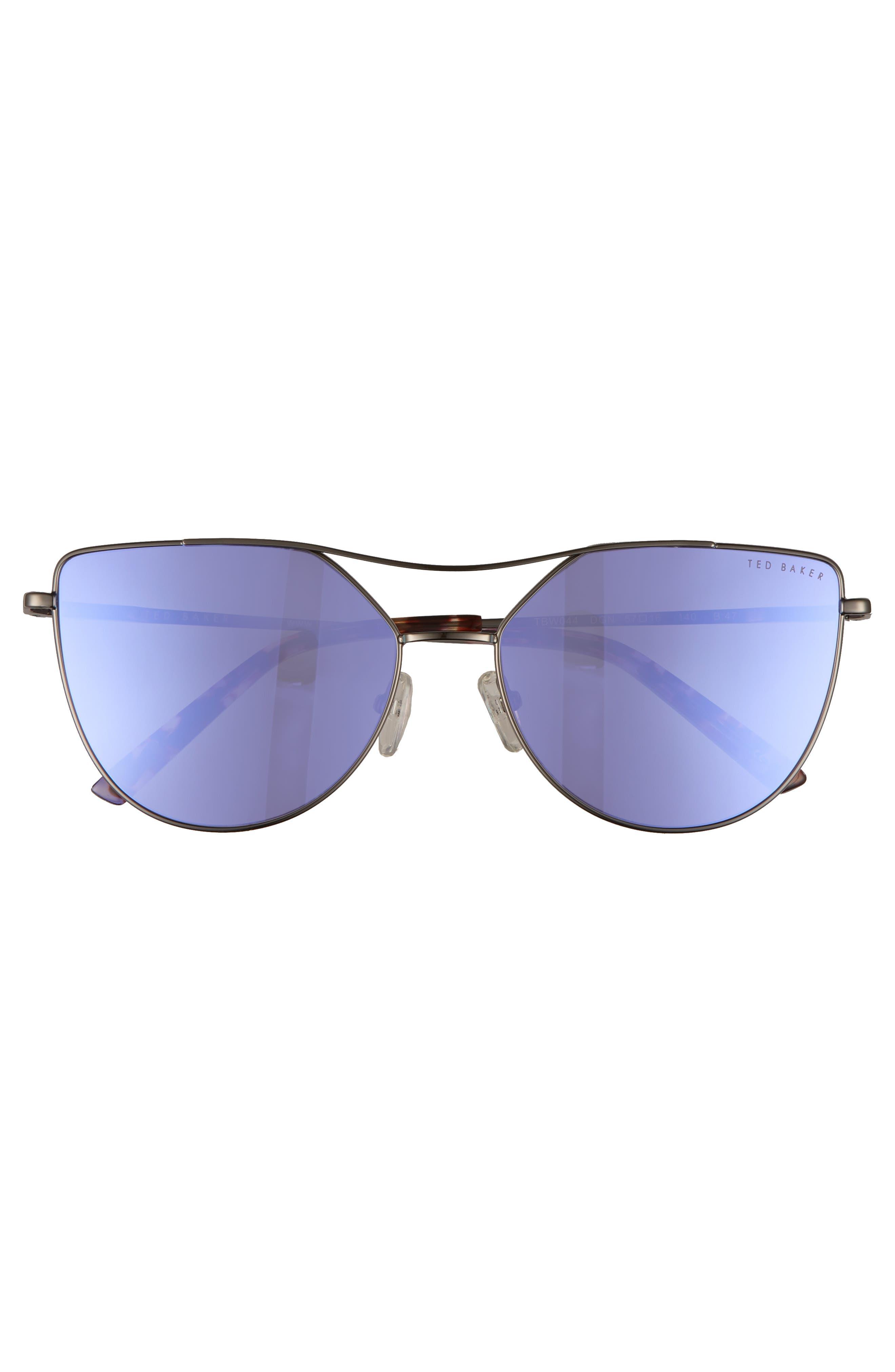 57mm Geometric Aviator Sunglasses,                             Alternate thumbnail 2, color,                             Dark Gunmetal