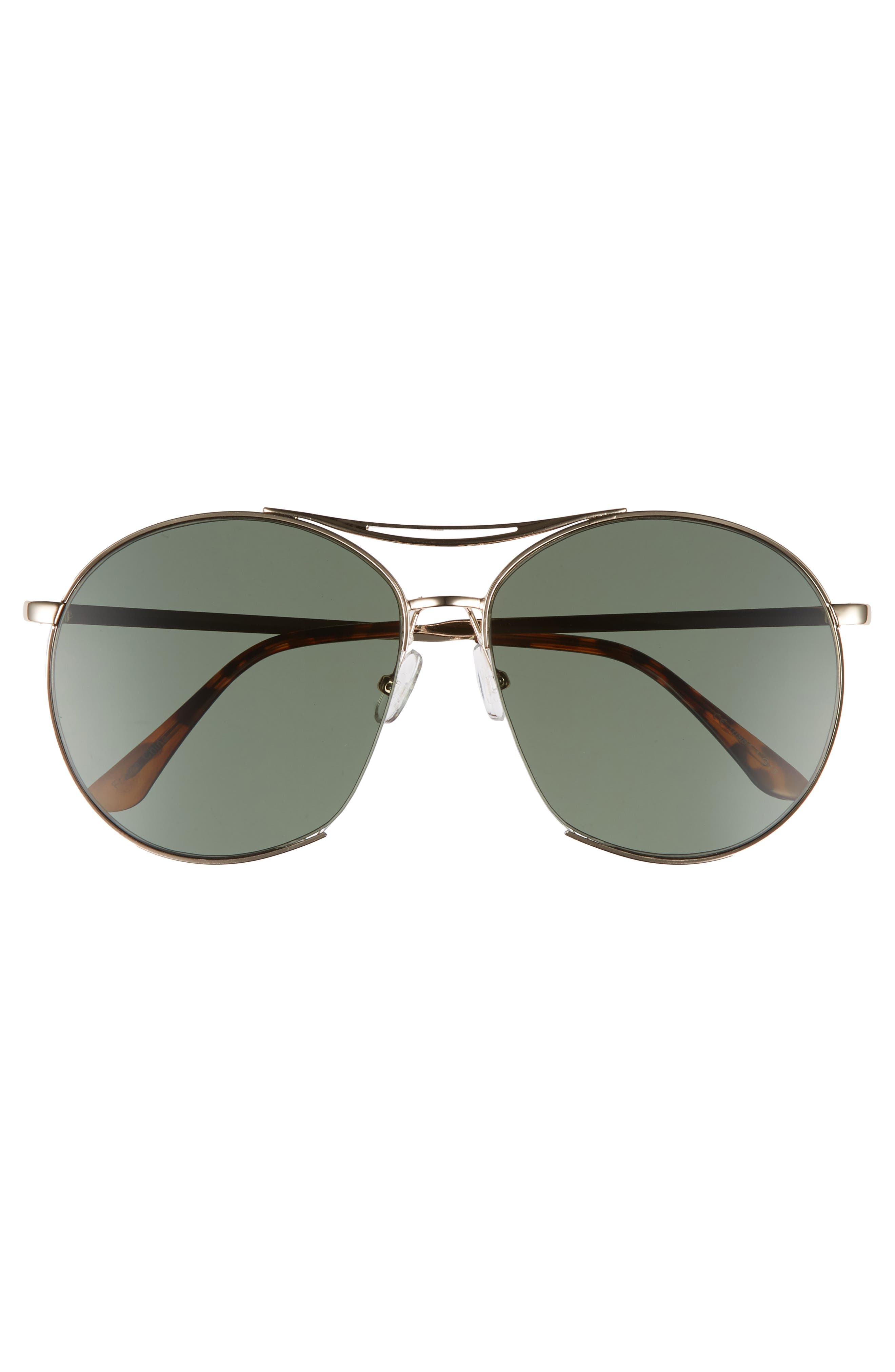 60mm Round Aviator Sunglasses,                             Alternate thumbnail 3, color,                             Gold
