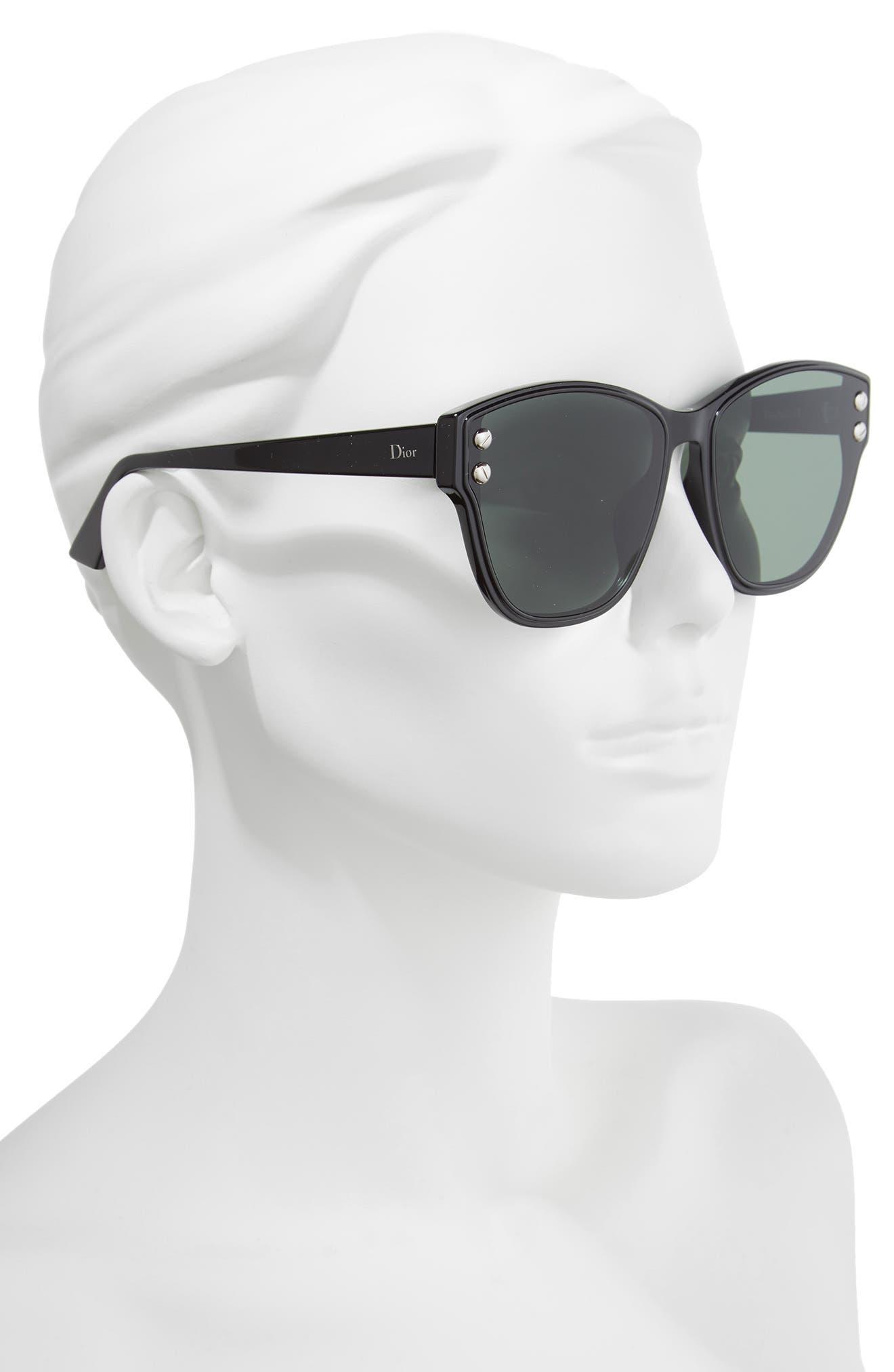 Addict 62mm Special Fit Cat Eye Sunglasses,                             Alternate thumbnail 2, color,                             Black
