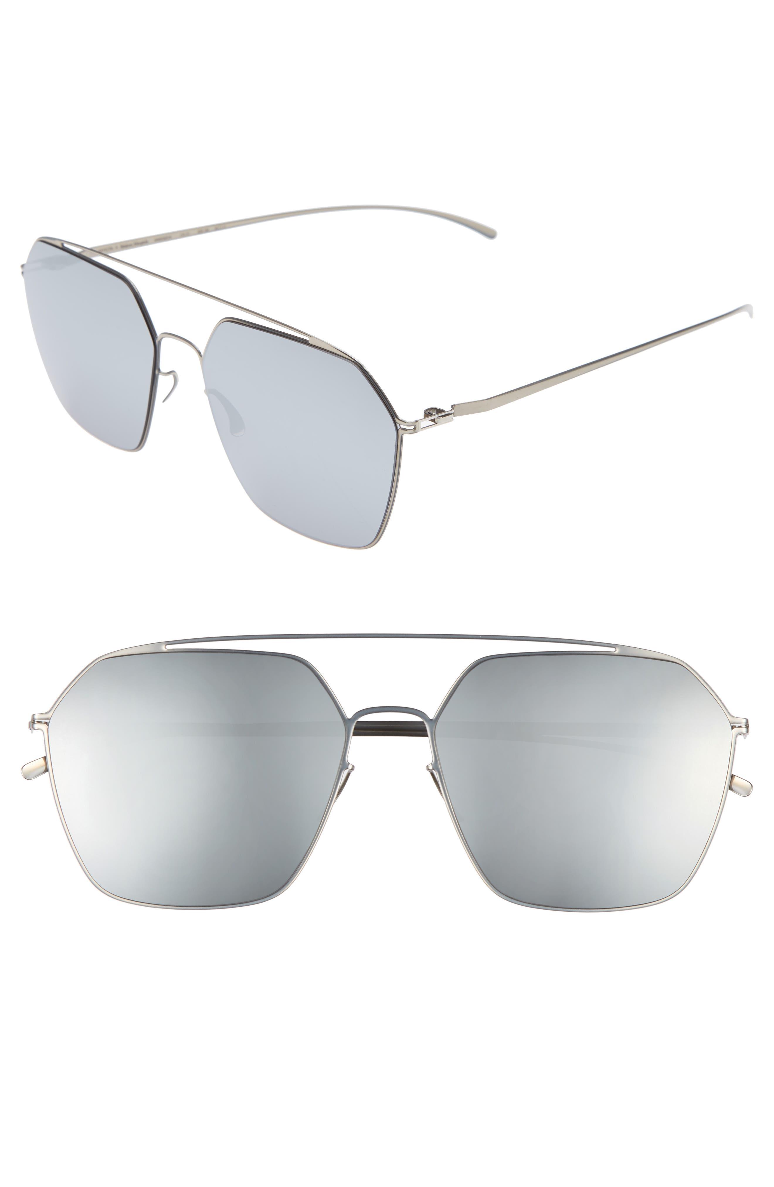 MMESSE016 60mm Sunglasses,                         Main,                         color, Silver