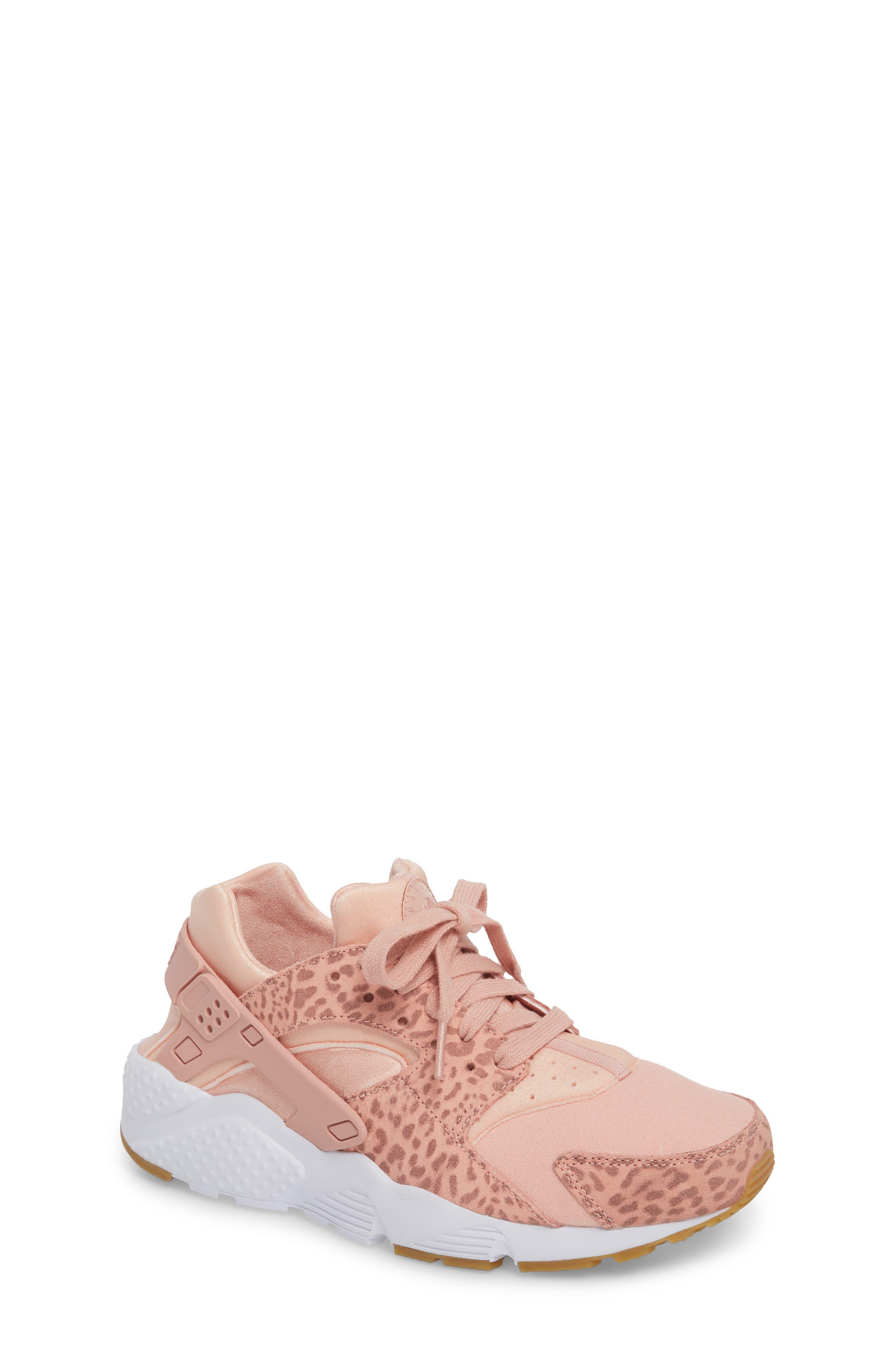 Huarache Run SE Sneaker,                             Main thumbnail 1, color,                             Coral Stardust/ Rust Pink/ Gum
