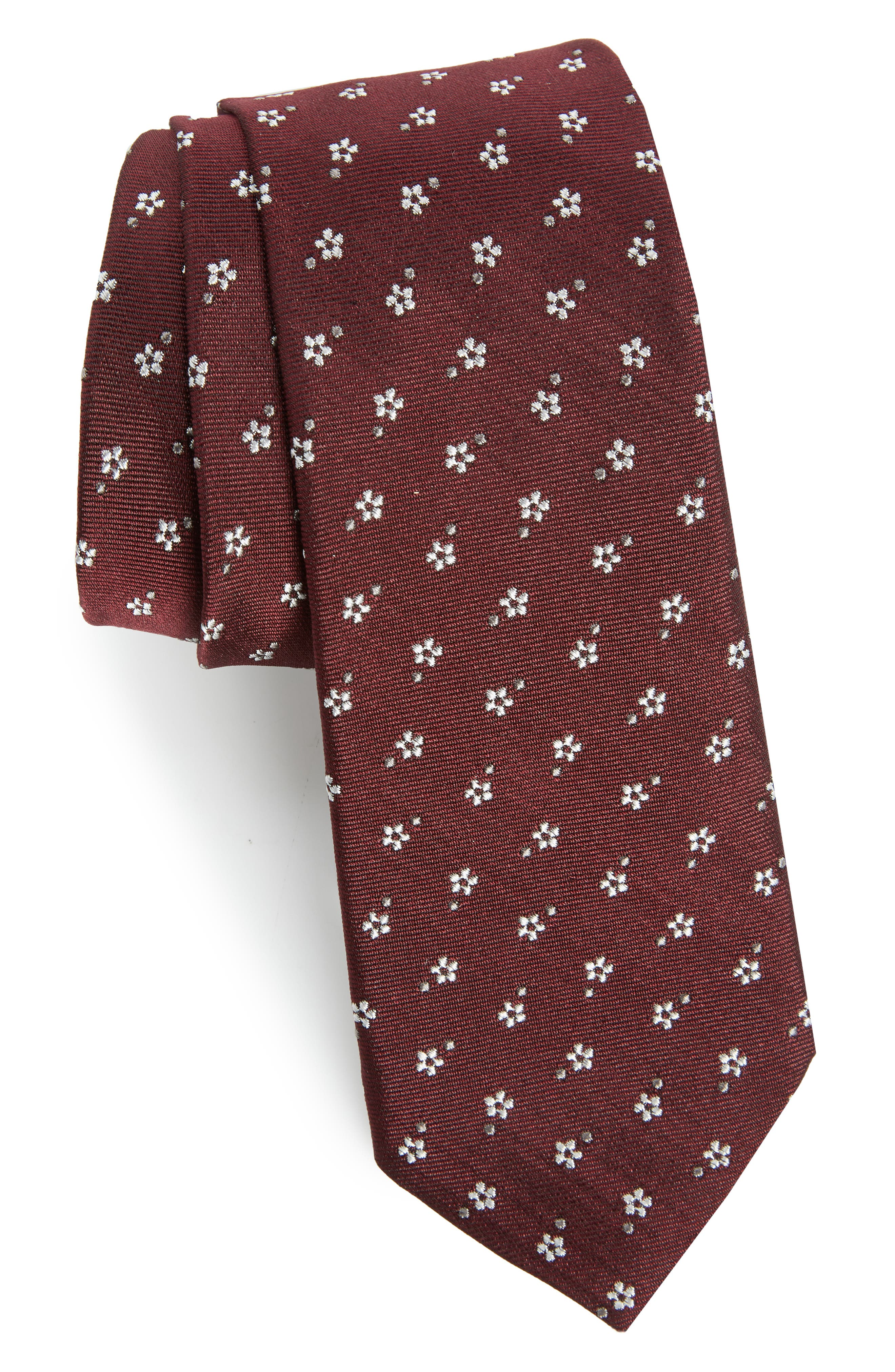 Floral Print Skinny Tie,                             Main thumbnail 1, color,                             Burgundy/ Bordeaux