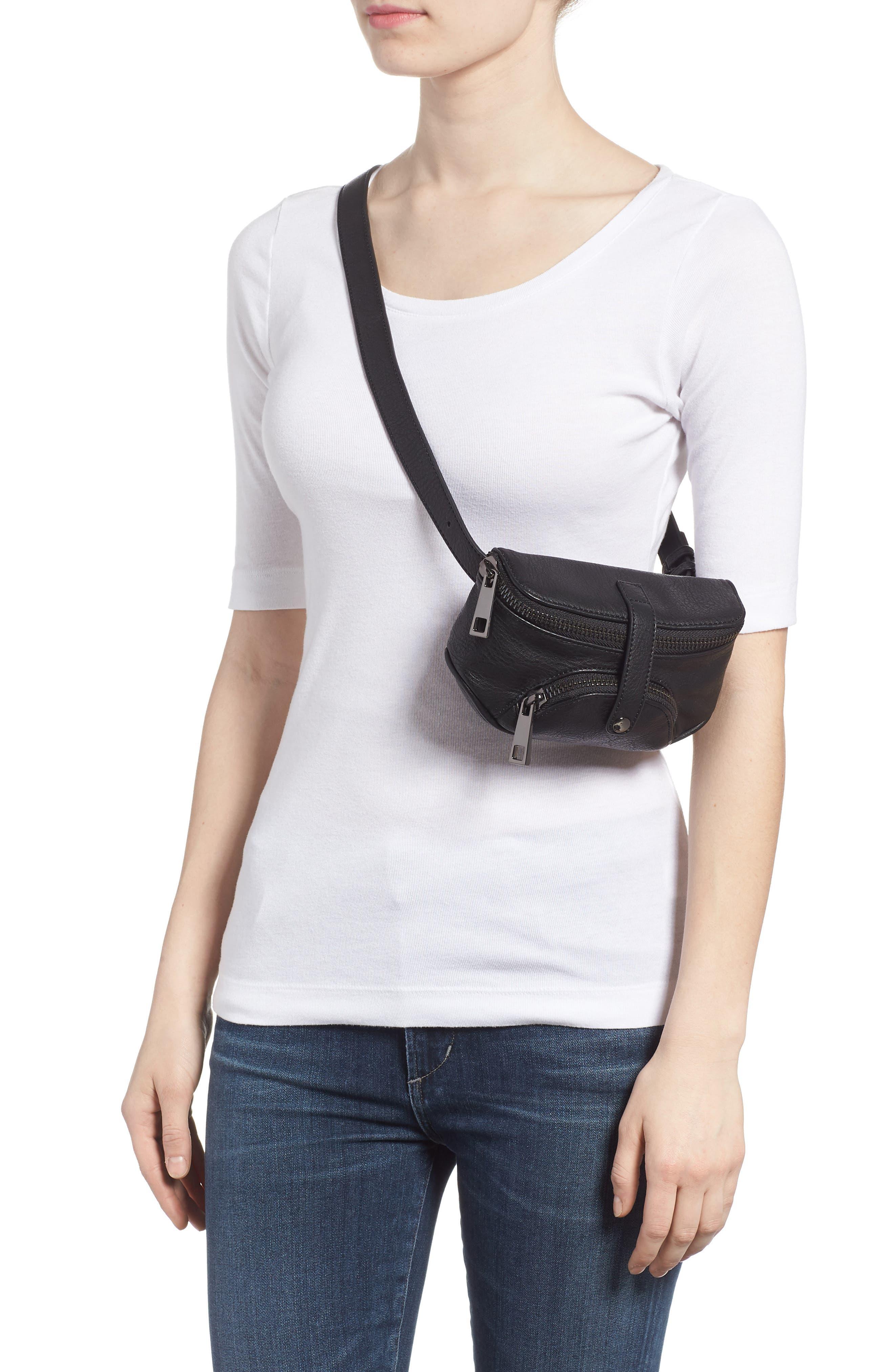 Faux Leather Belt Bag,                             Alternate thumbnail 2, color,                             Black