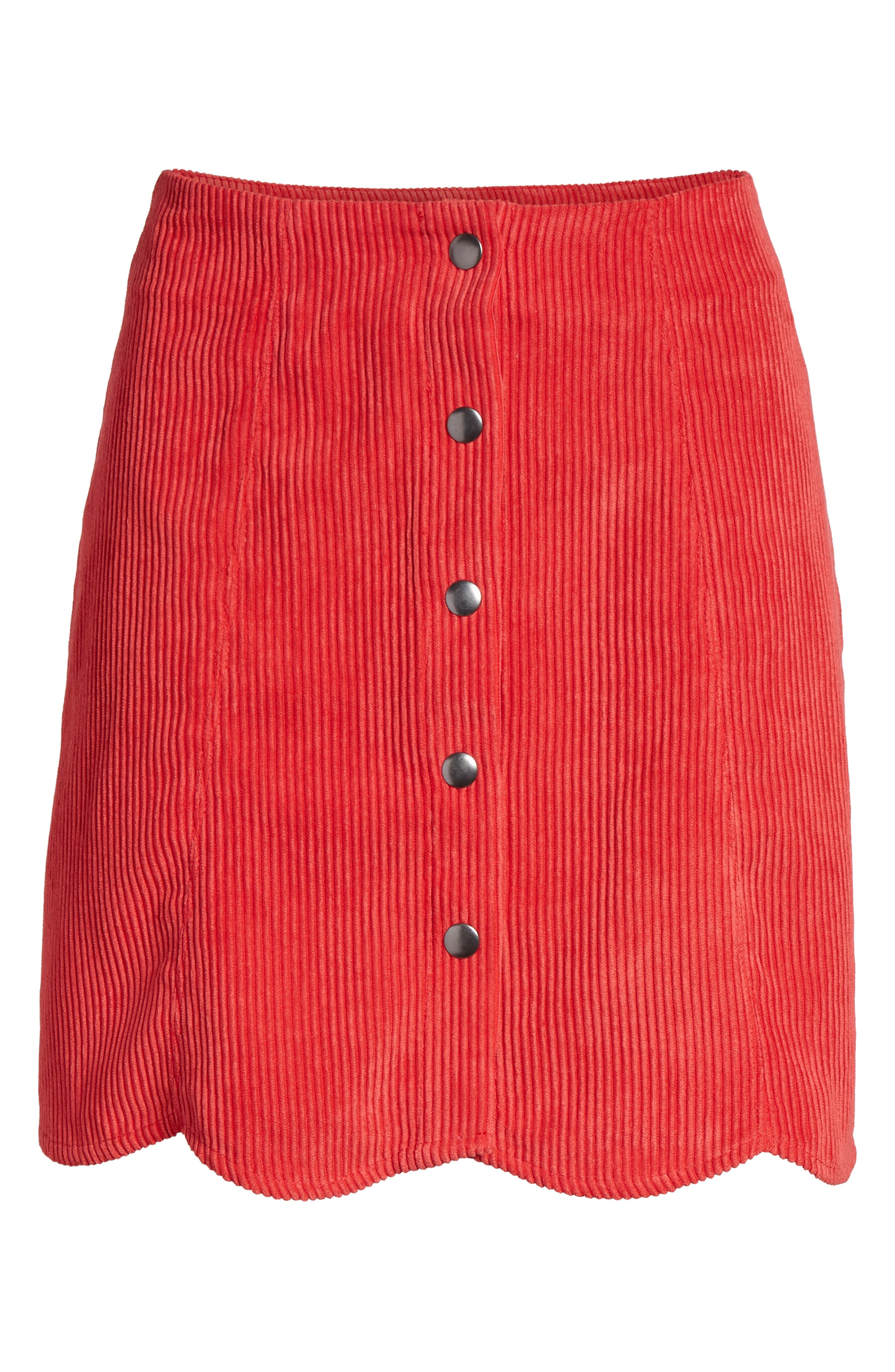 Central Corduroy Scallop Hem Skirt,                             Alternate thumbnail 6, color,                             Red