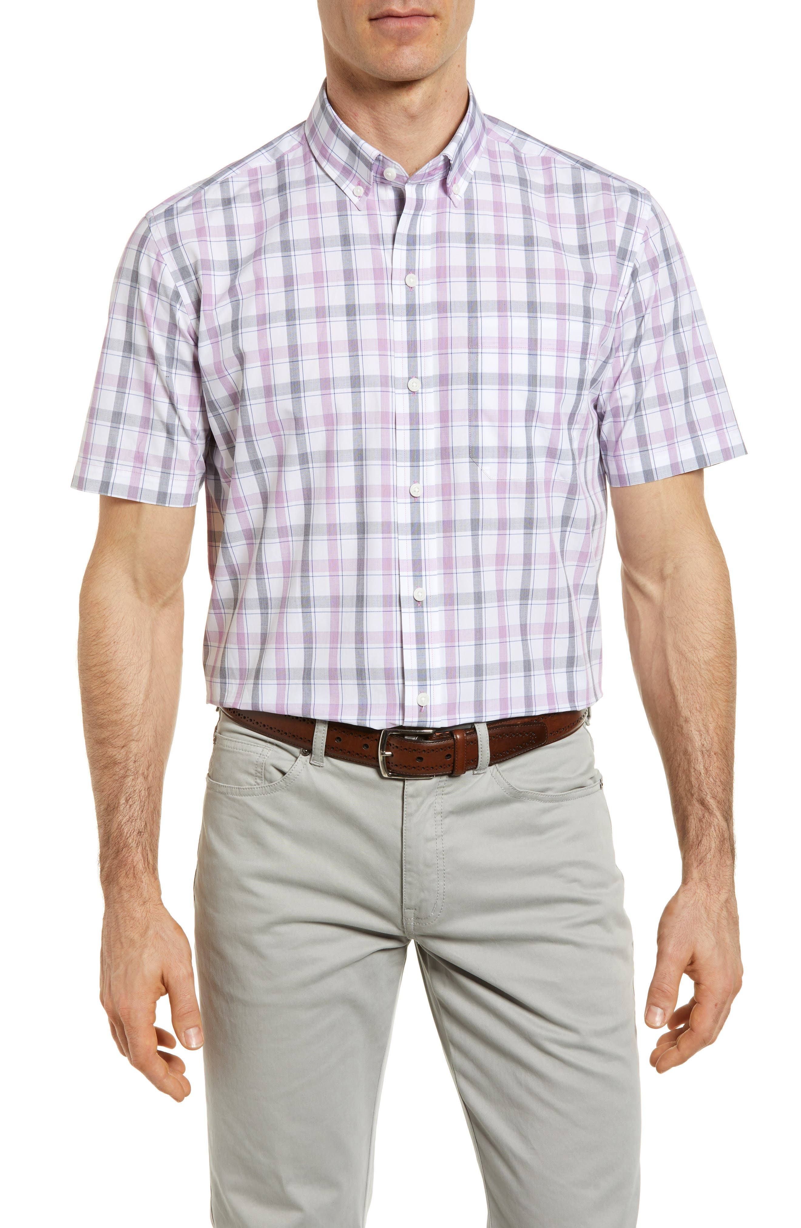 Griffen Non-Iron Plaid Sport Shirt,                             Main thumbnail 1, color,                             Magnetic