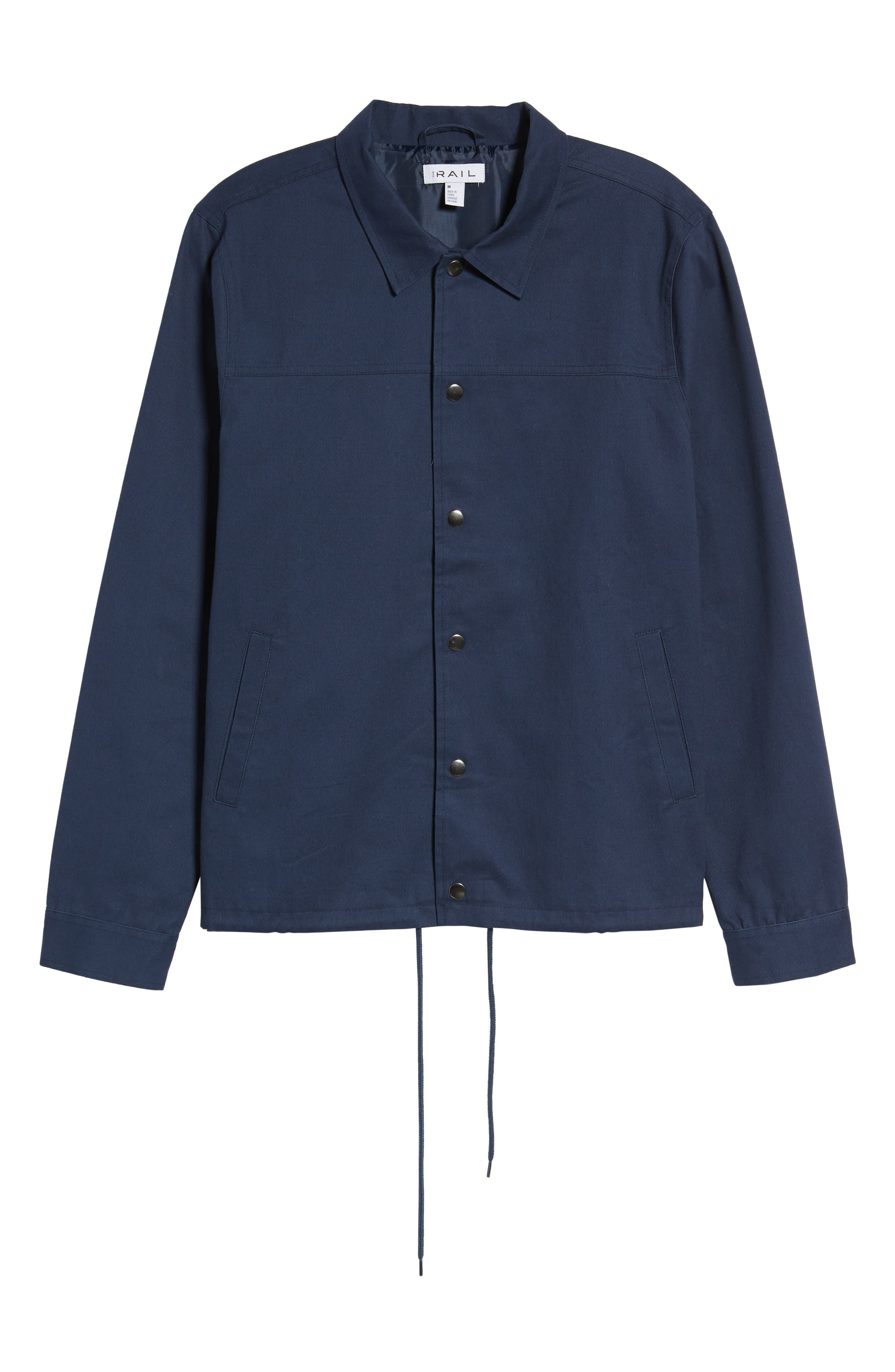 Snap Front Coach's Jacket,                             Alternate thumbnail 6, color,                             Navy Iris