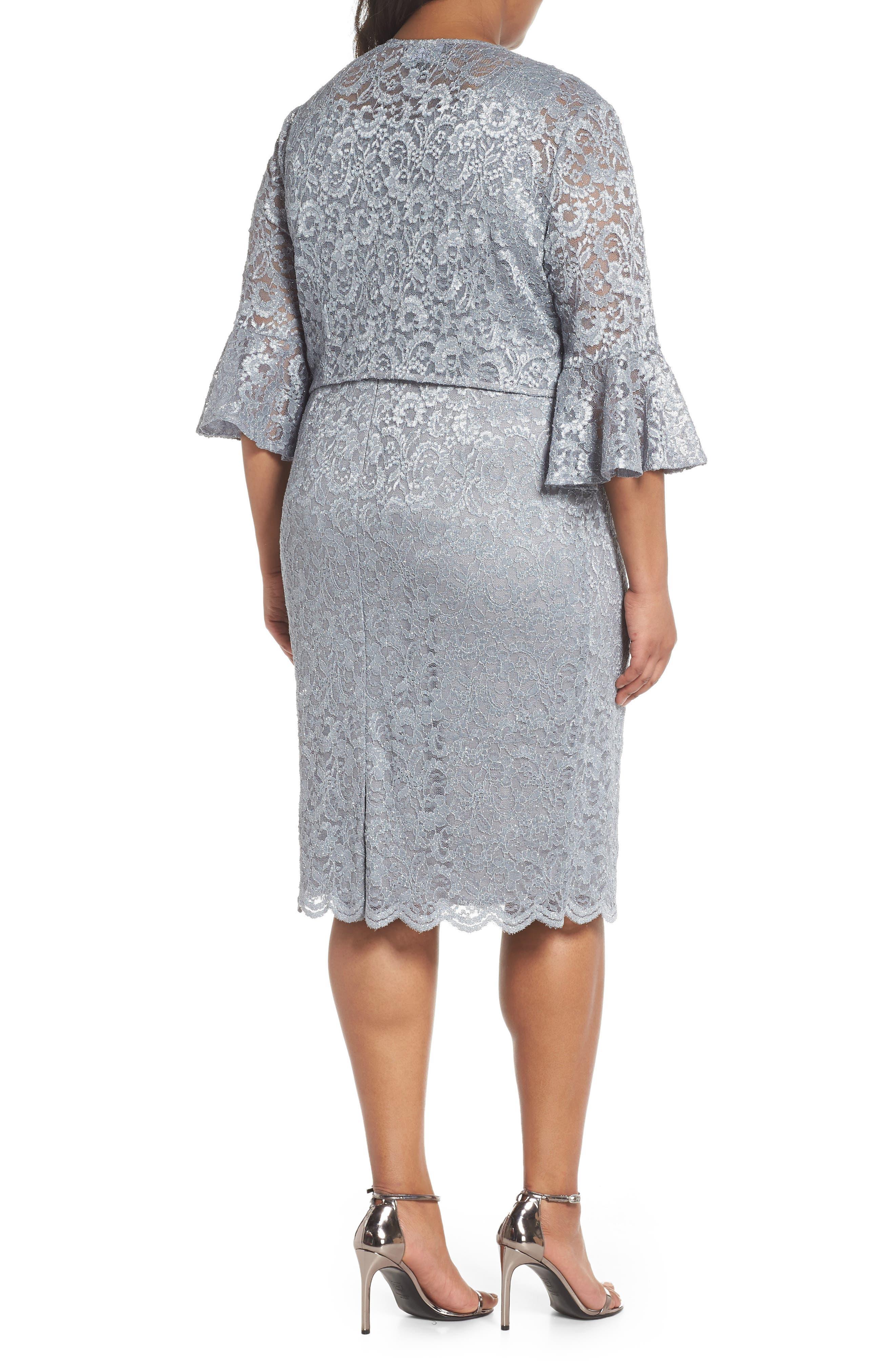 Lace Sheath Dress with Bolero Jacket,                             Alternate thumbnail 2, color,                             Silver
